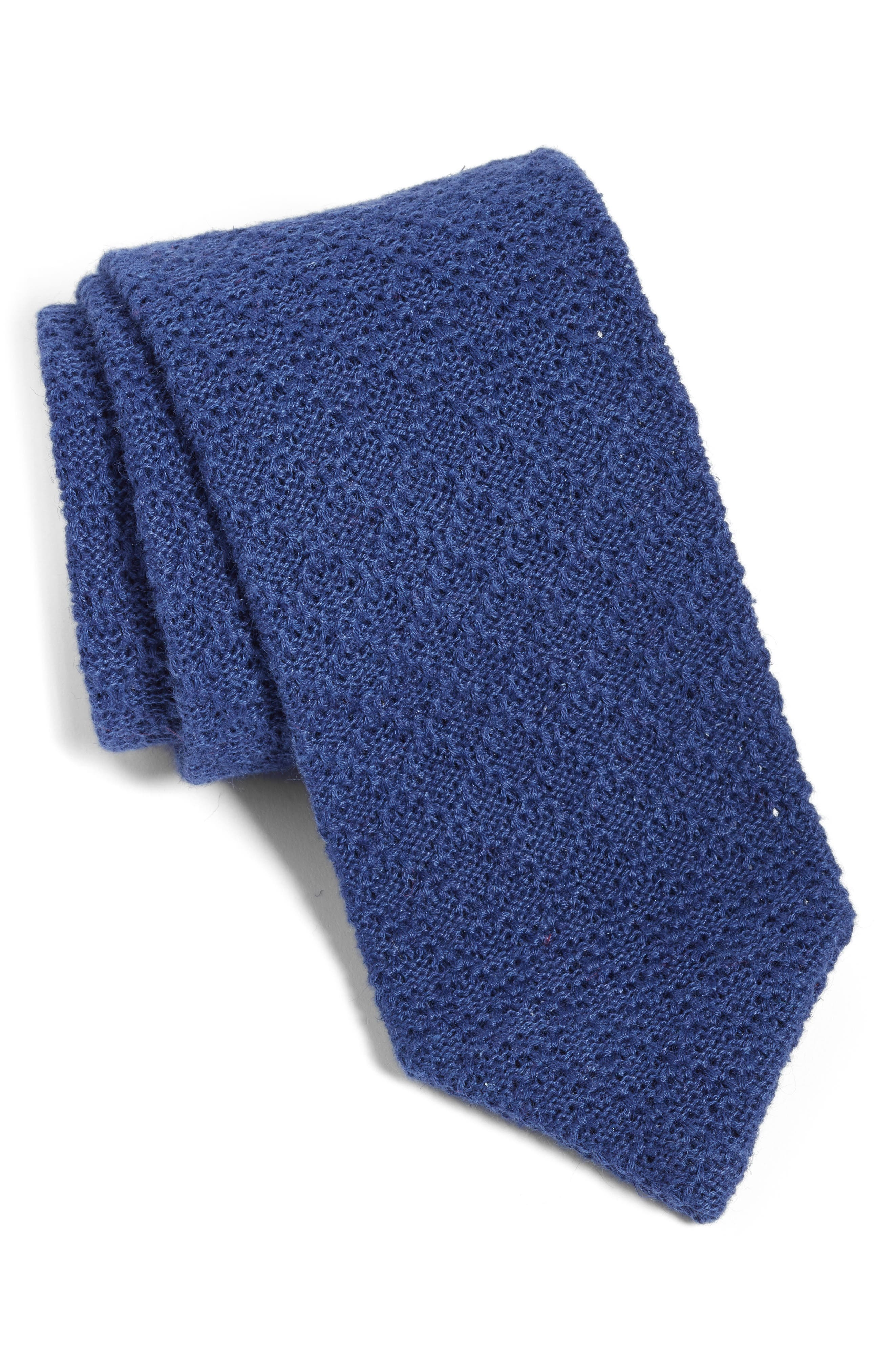 Knit Linen & Cotton Tie,                             Main thumbnail 1, color,                             NAVY