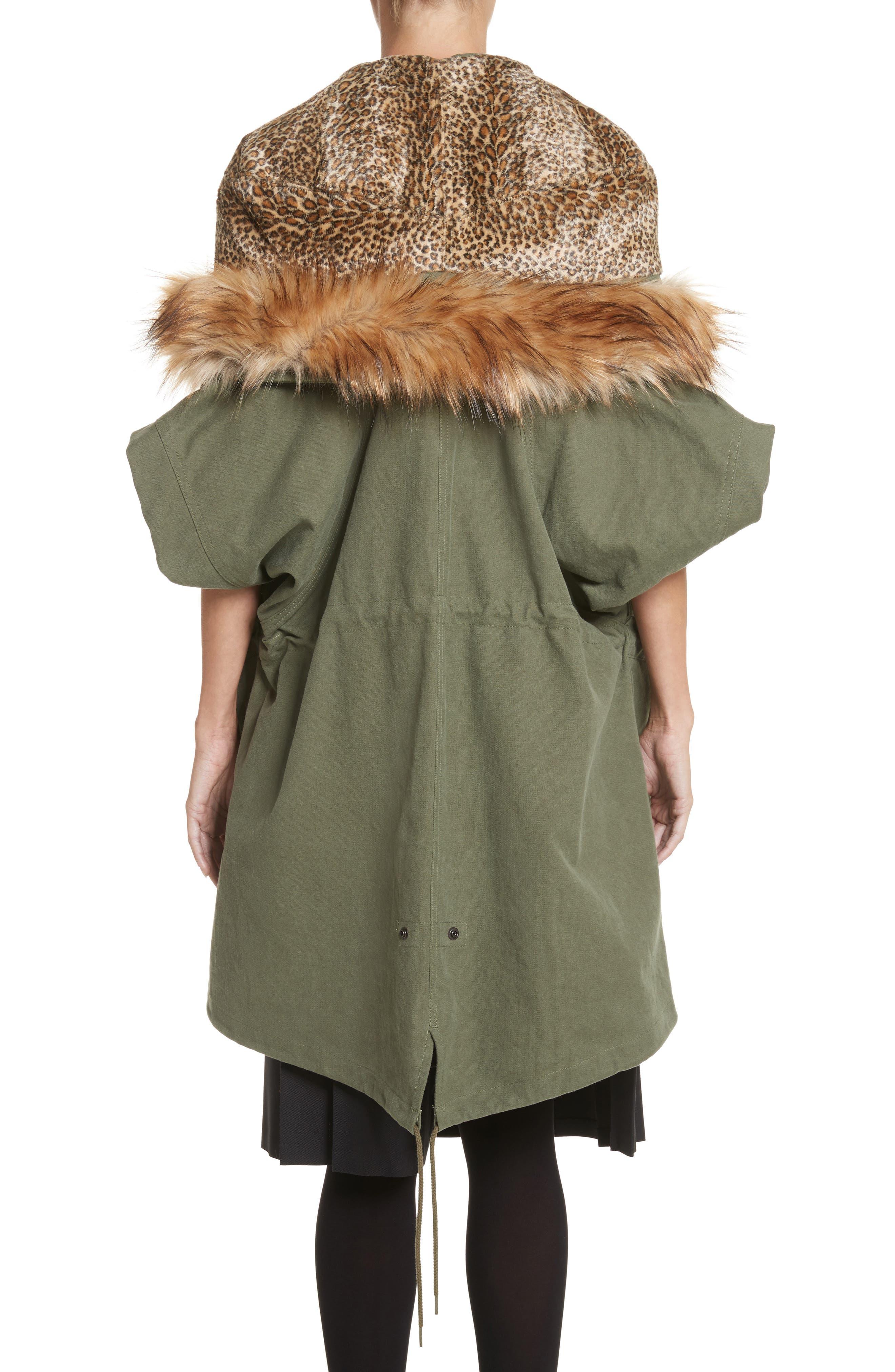 Army Coat with Cheetah Faux Fur Hood,                             Alternate thumbnail 2, color,                             340
