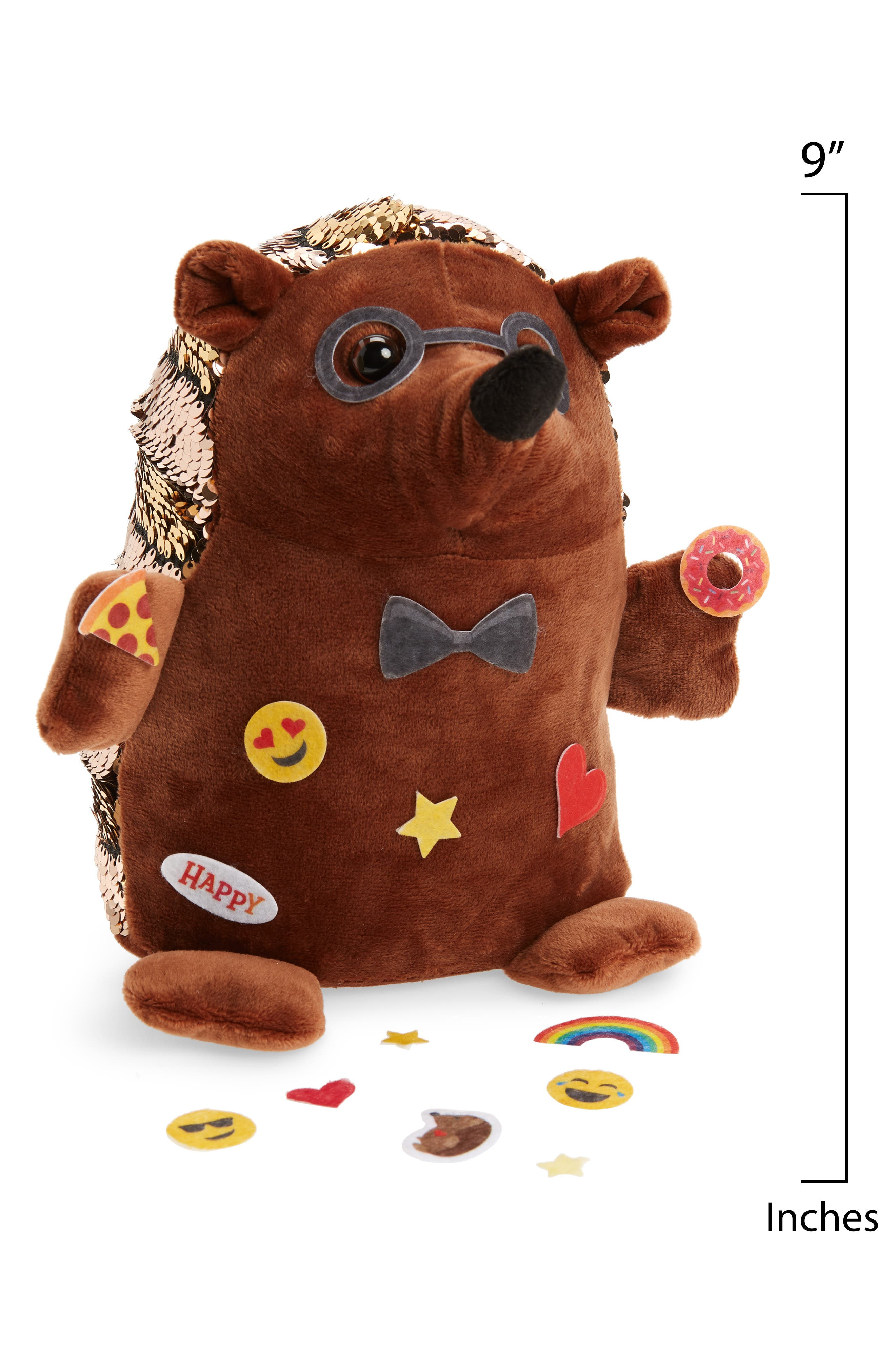 Sequin Pets Happy the Hedghog Plush Toy with Stickers,                             Alternate thumbnail 2, color,                             BROWN