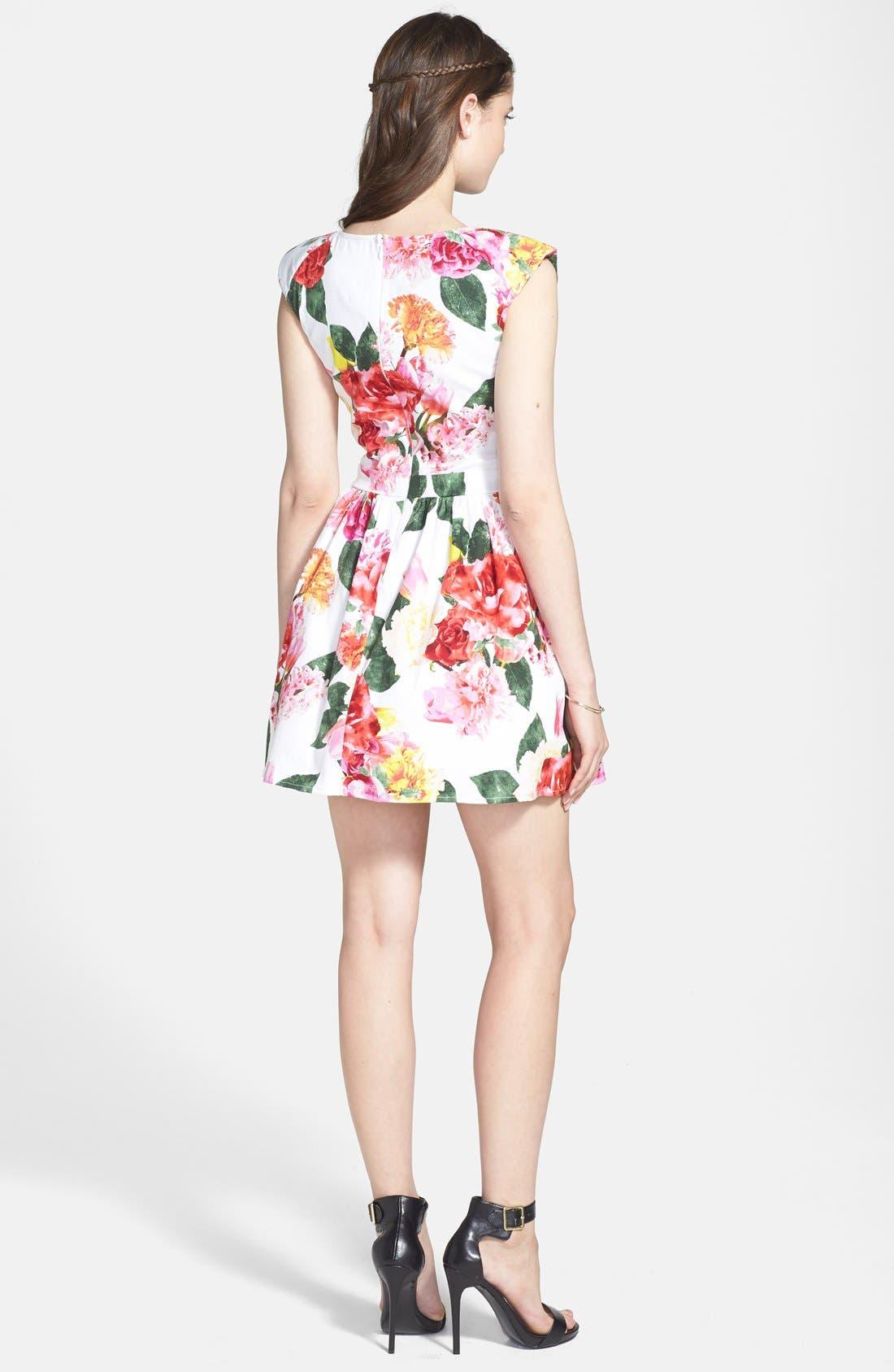 TRIXXI,                             Floral Fit & Flare Dress,                             Alternate thumbnail 3, color,                             650