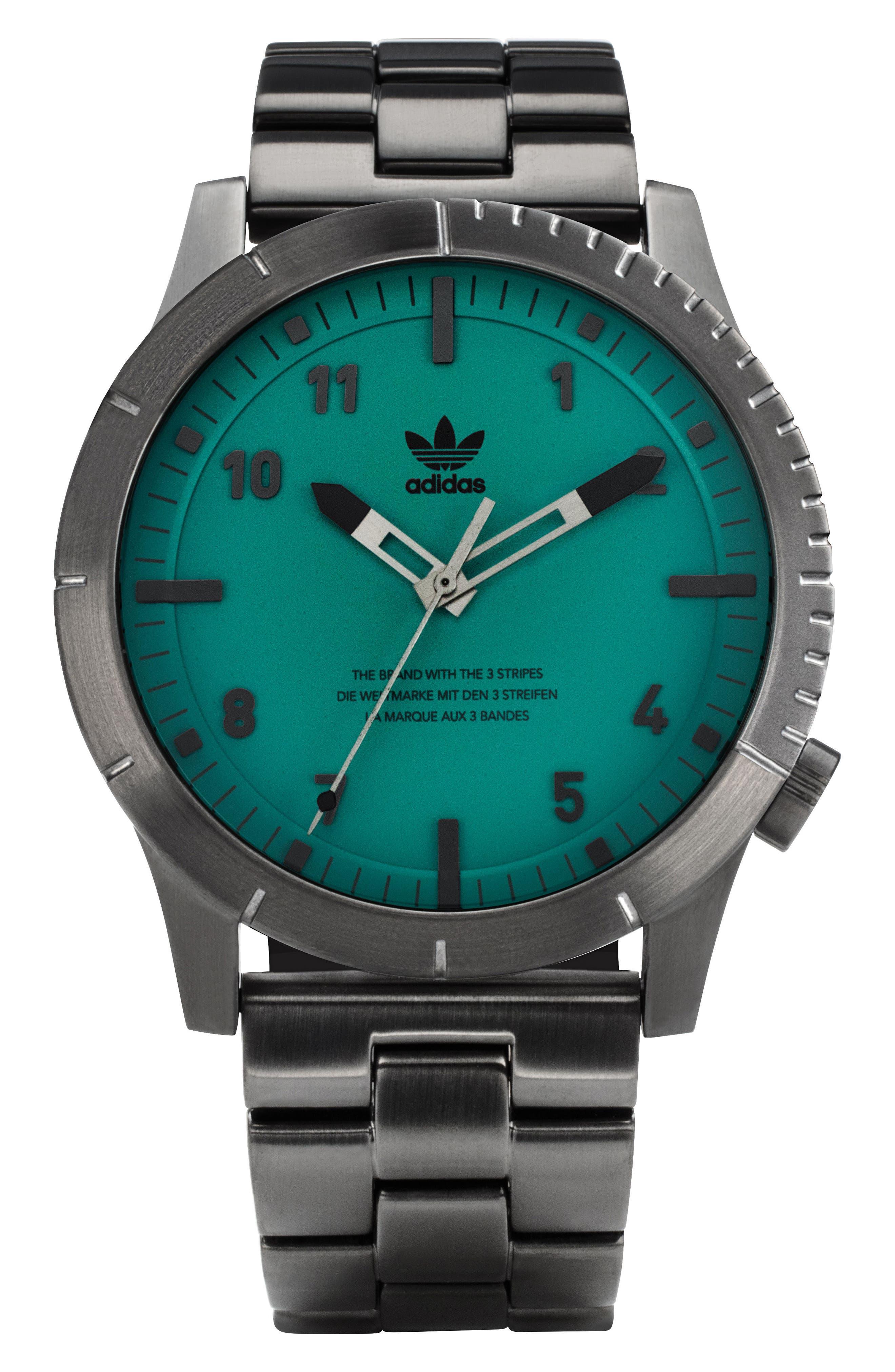 Cypher Bracelet Watch, 42mm,                             Main thumbnail 1, color,                             GUNMETAL/ GREEN