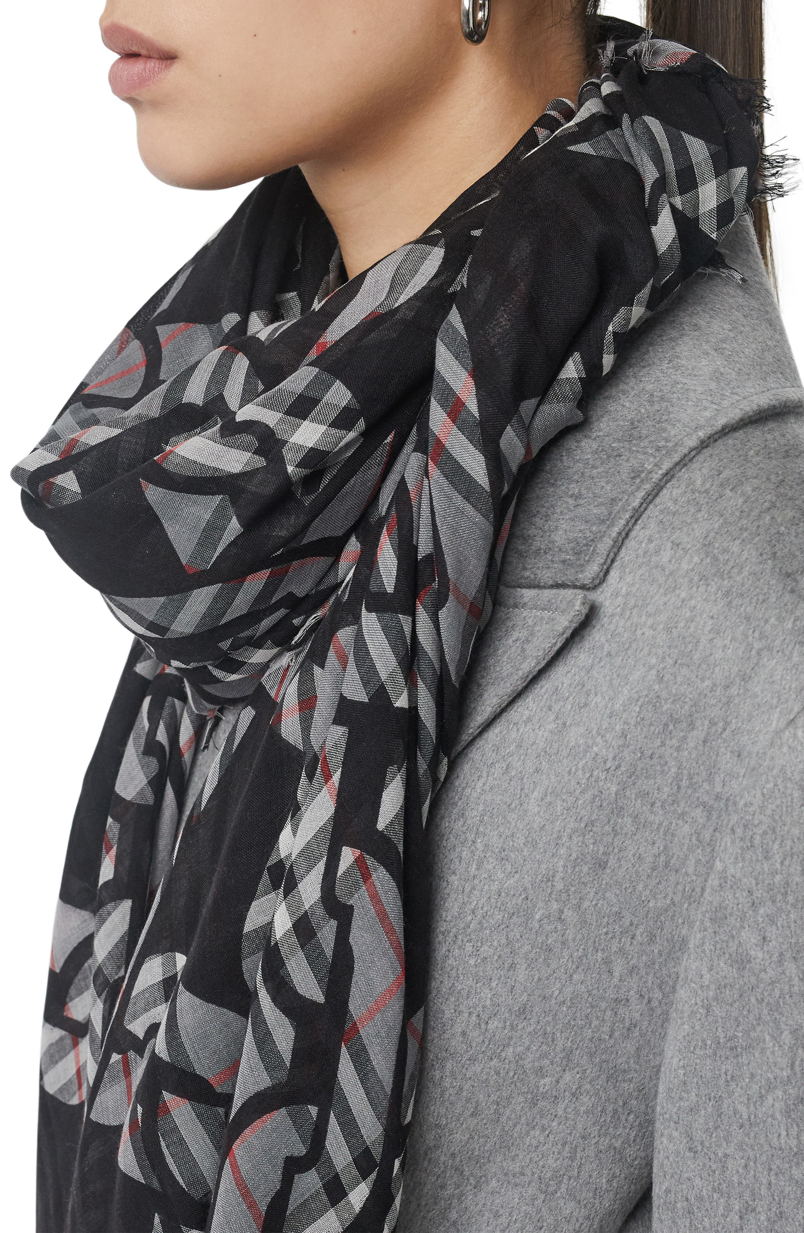 Chain Vintage Check Wool & Silk Scarf,                             Alternate thumbnail 4, color,                             CHARCOAL