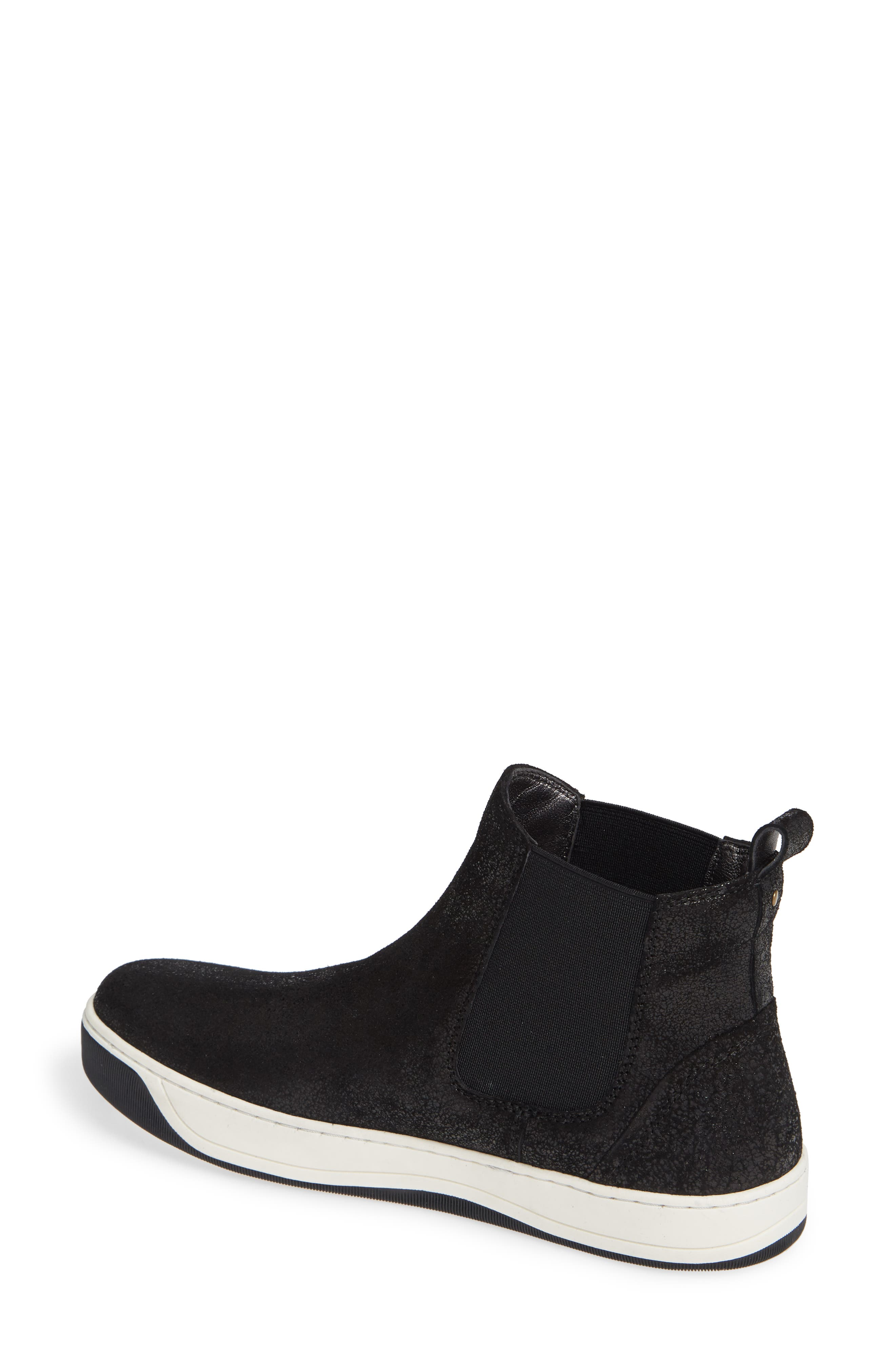 Erica High Top Sneaker,                             Alternate thumbnail 2, color,                             BLACK LEATHER