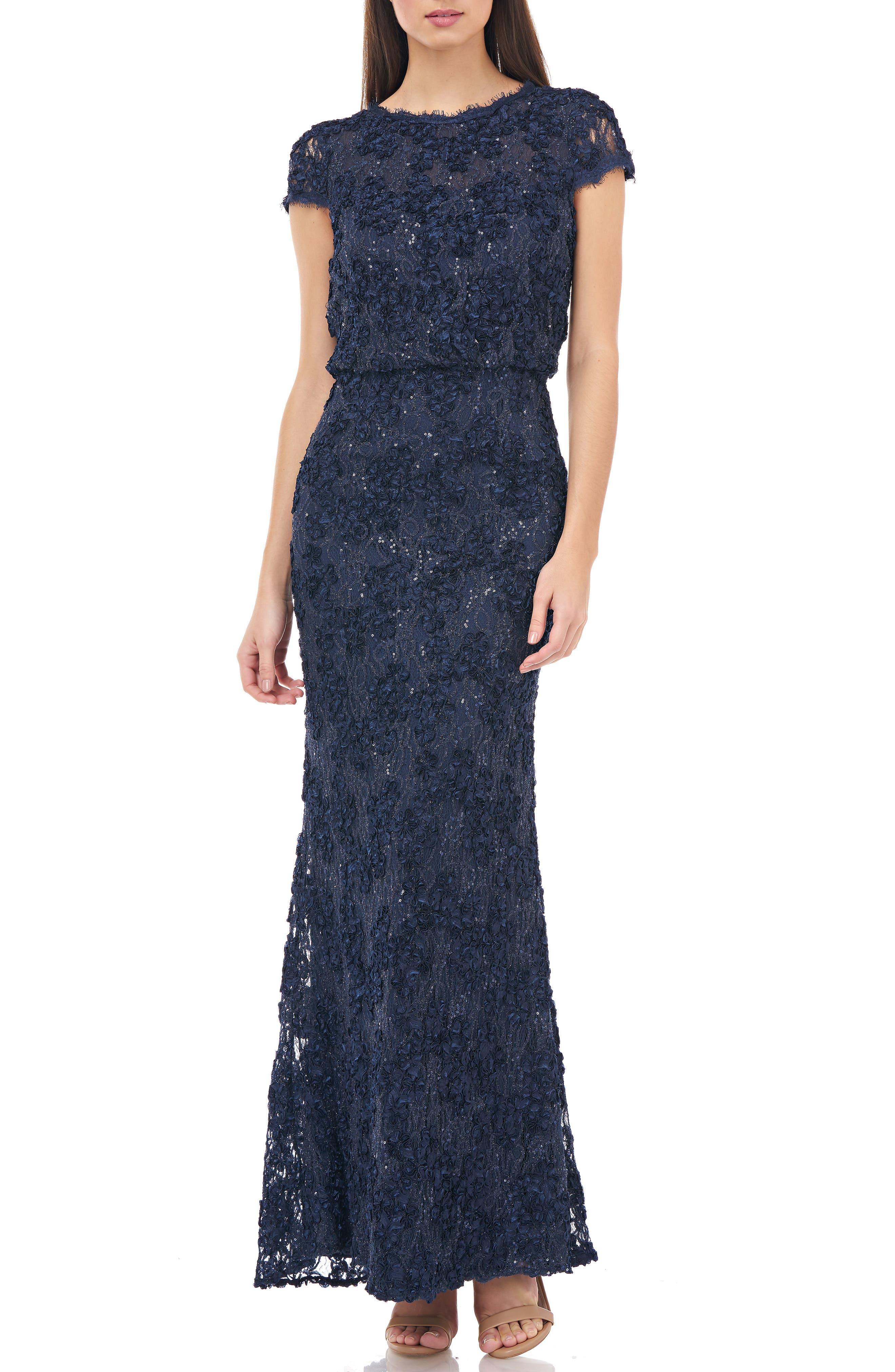 Js Collections Sequin Lace Blouson Gown, Blue