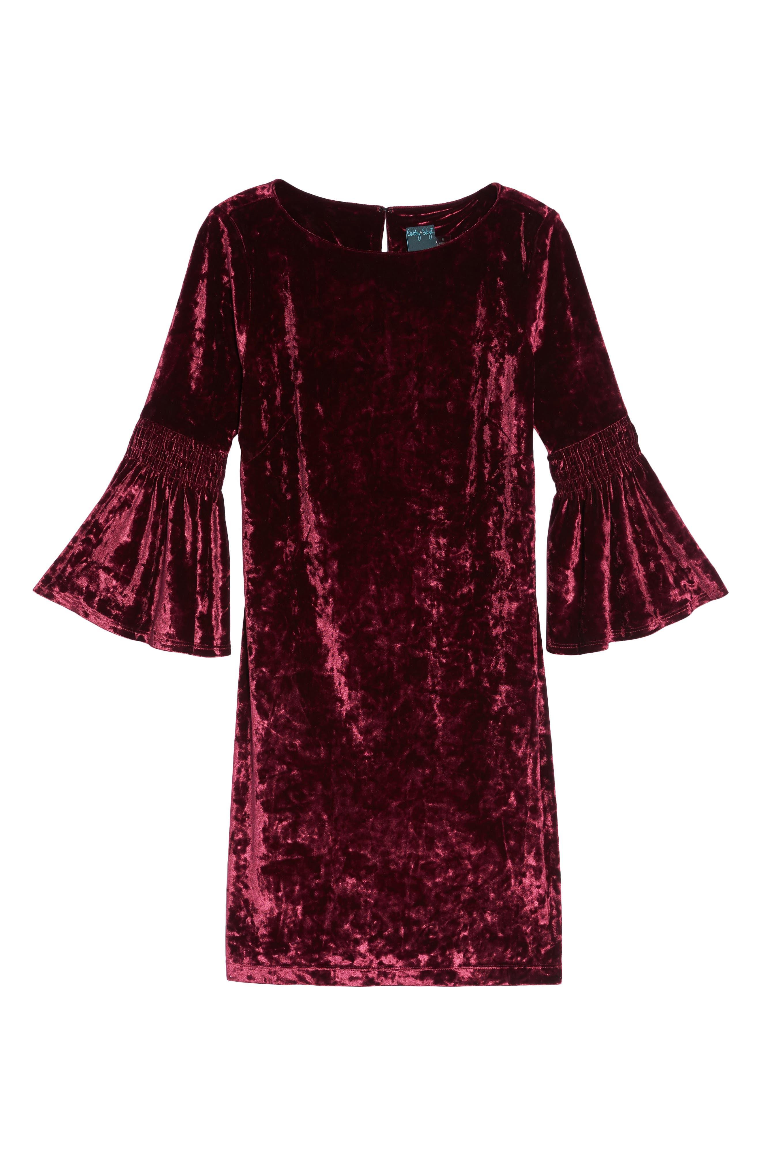 Crushed Velvet Bell Sleeve Dress,                             Alternate thumbnail 6, color,                             601