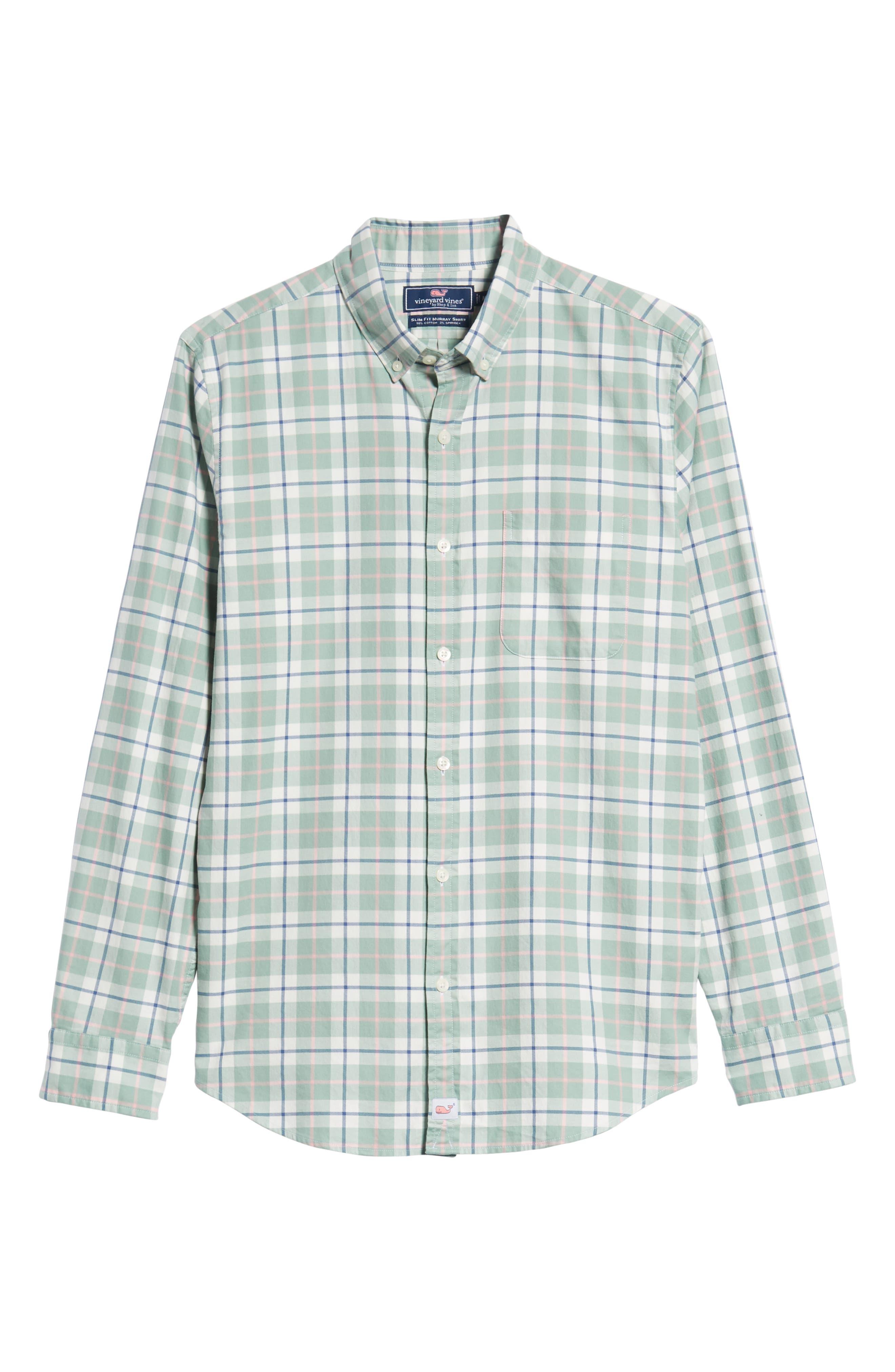 Riverbank Regular Fit Plaid Sport Shirt,                             Alternate thumbnail 5, color,                             DESERT GREEN