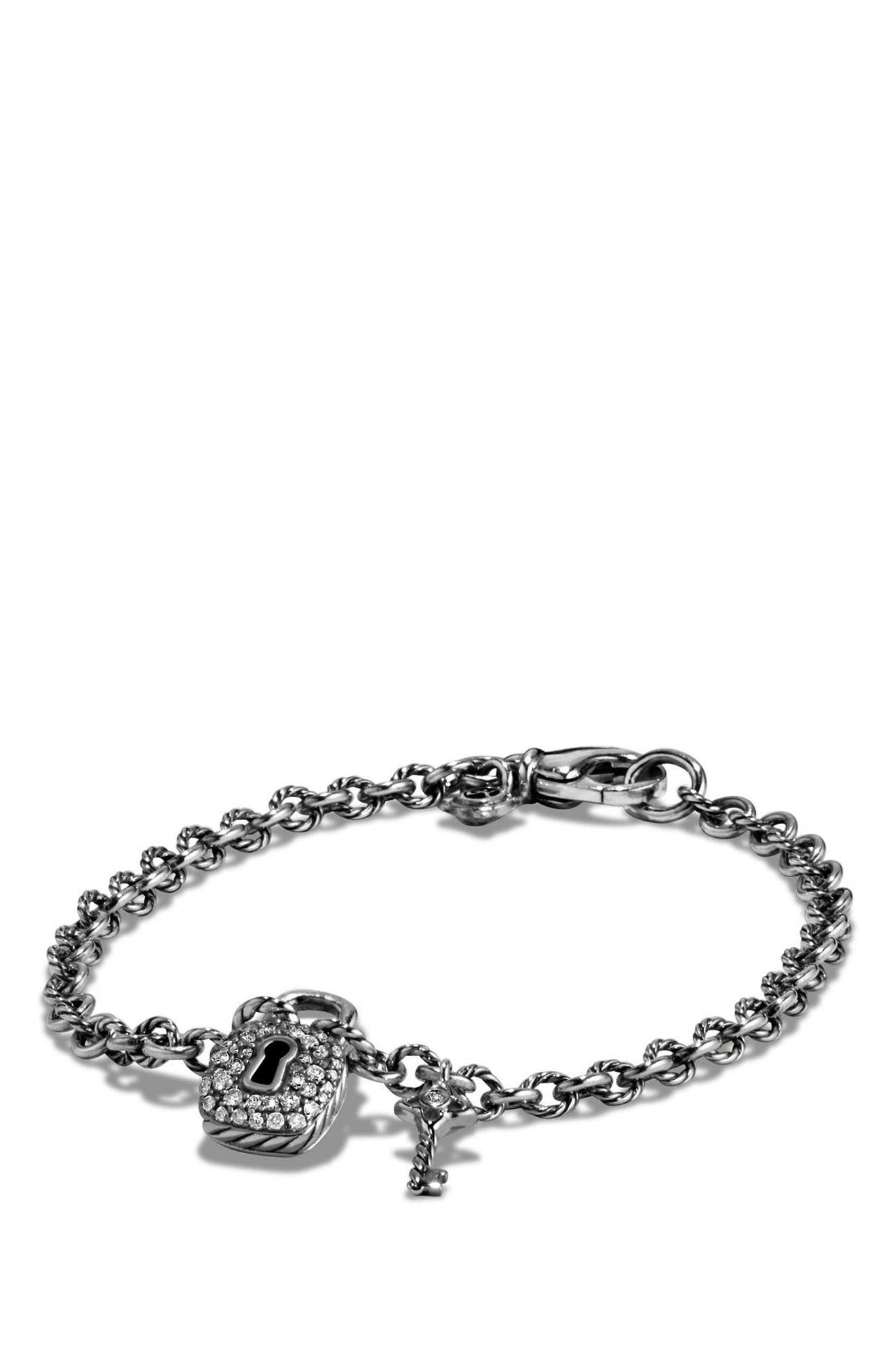 'Cable Collectibles' Lock and Key Charm Bracelet with Diamonds,                             Alternate thumbnail 4, color,                             SILVER