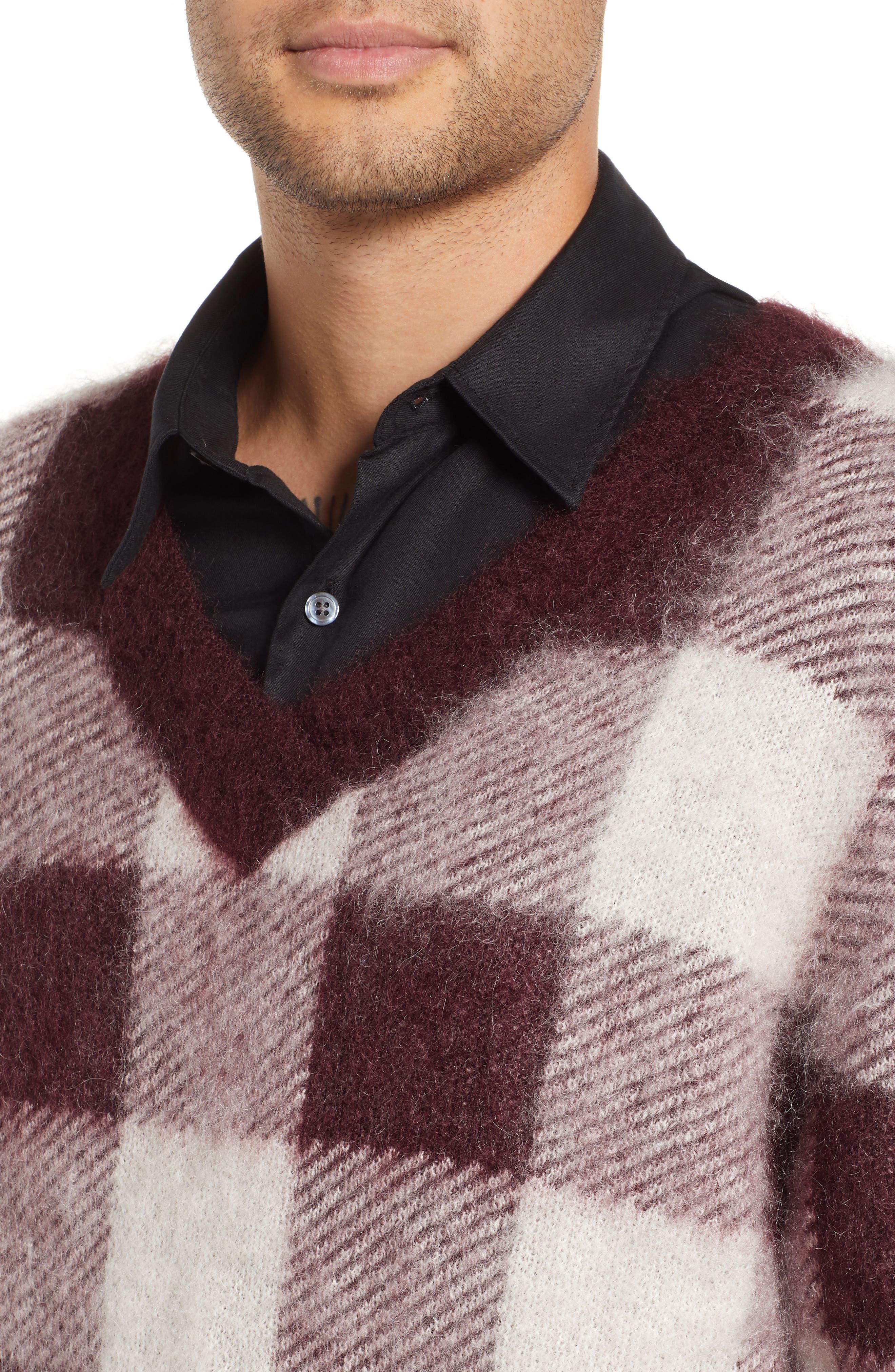 Low Mohair Blend V-Neck Sweater,                             Alternate thumbnail 4, color,                             PLUM CHECK
