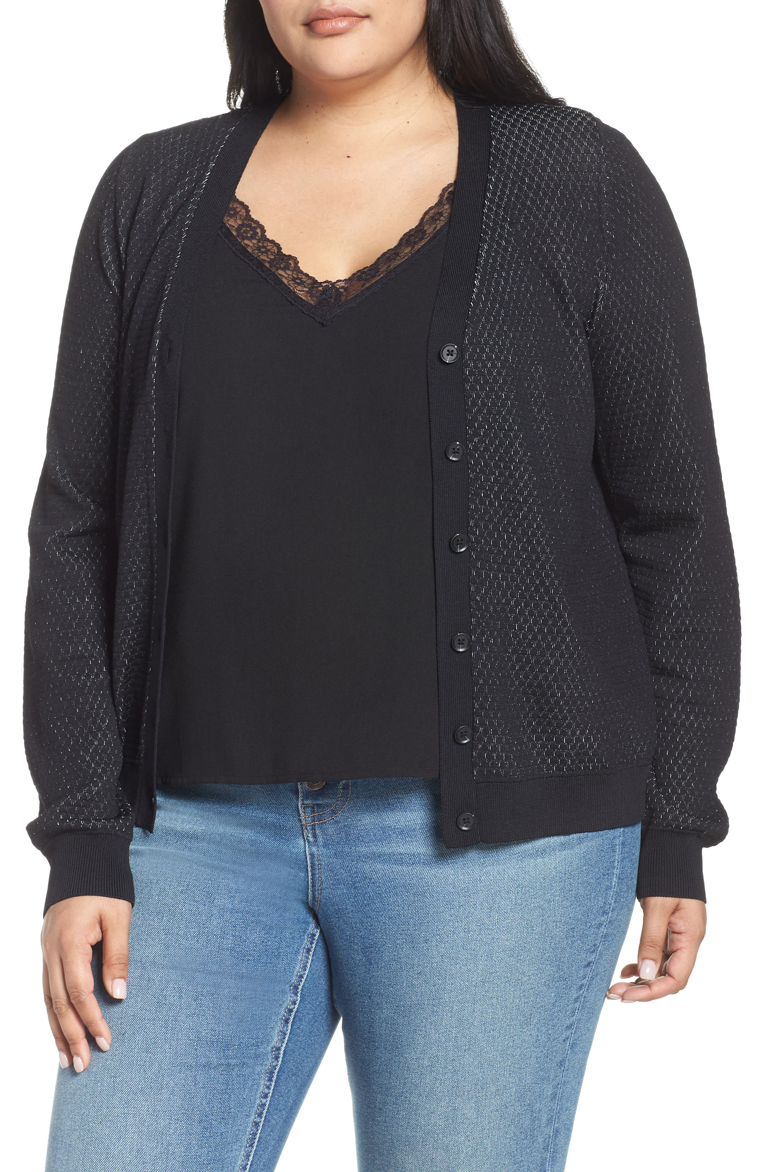 Plus Size Rachel Rachel Roy Presley Button Cardigan, Black