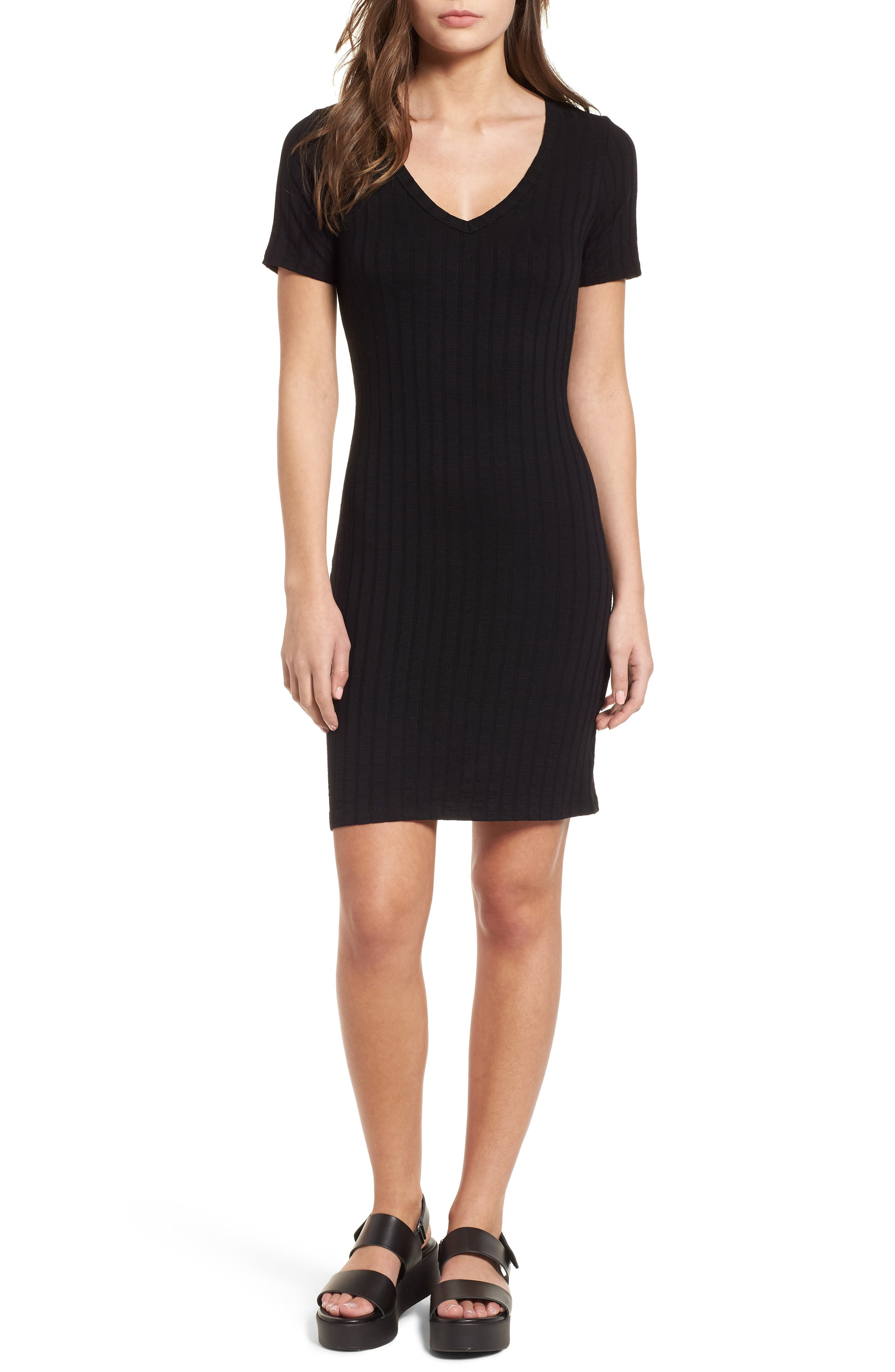 Project Social T Ribbed Body-Con Dress,                             Main thumbnail 1, color,                             001