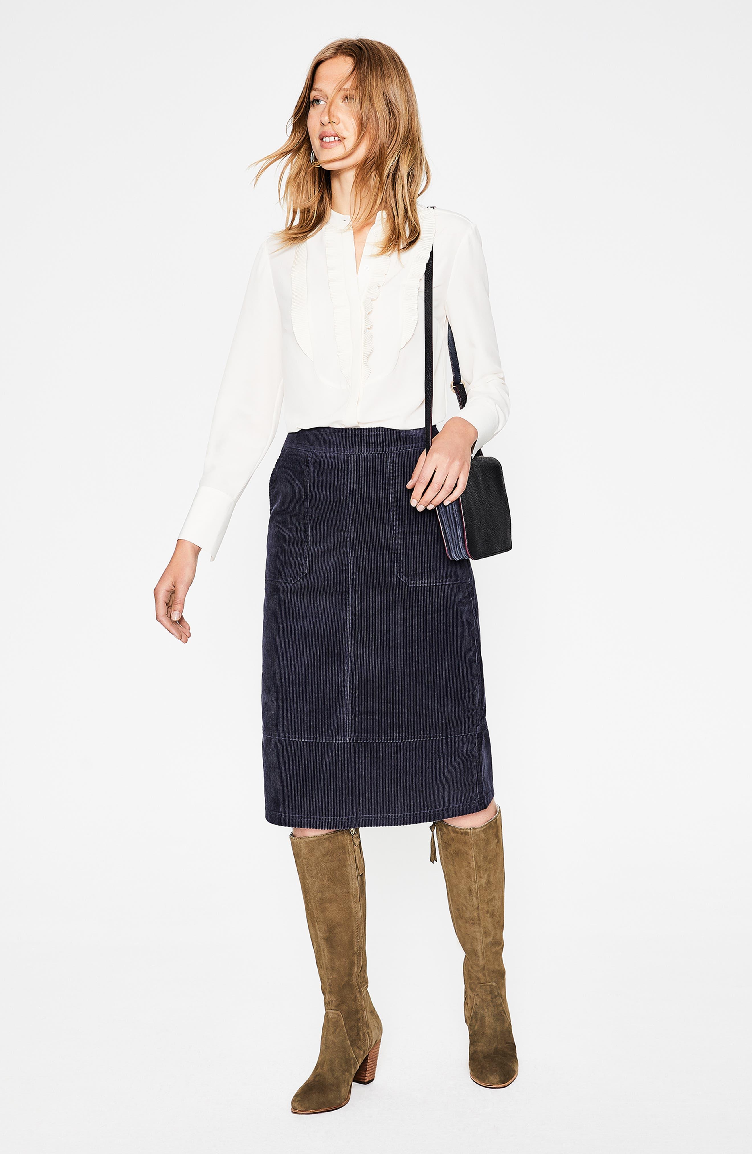 Patch Pocket Corduroy Midi Skirt,                             Alternate thumbnail 6, color,                             024