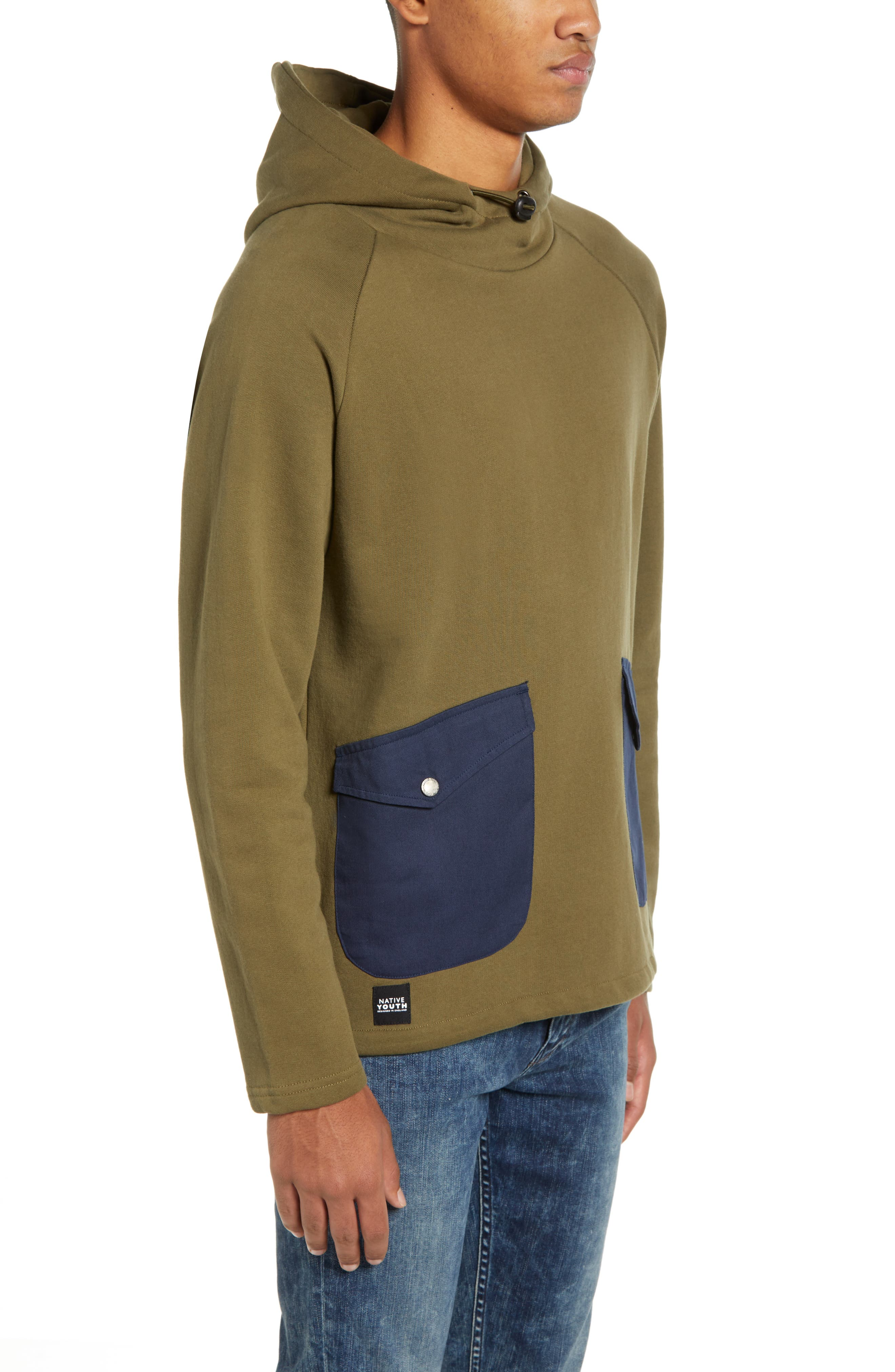Patch Pocket Pullover Hoodie,                             Alternate thumbnail 3, color,                             OLIVE