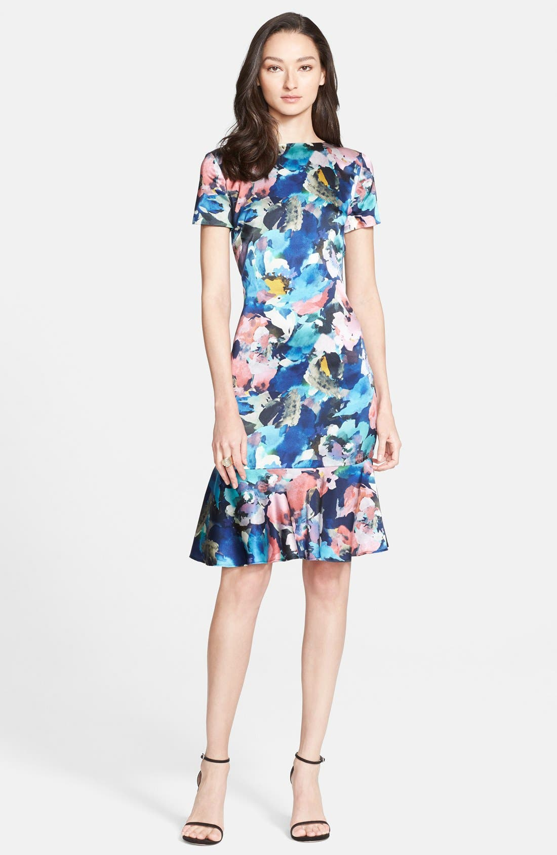 ST. JOHN COLLECTION Collage Floral Print Stretch Silk Charmeuse Dress, Main, color, 020