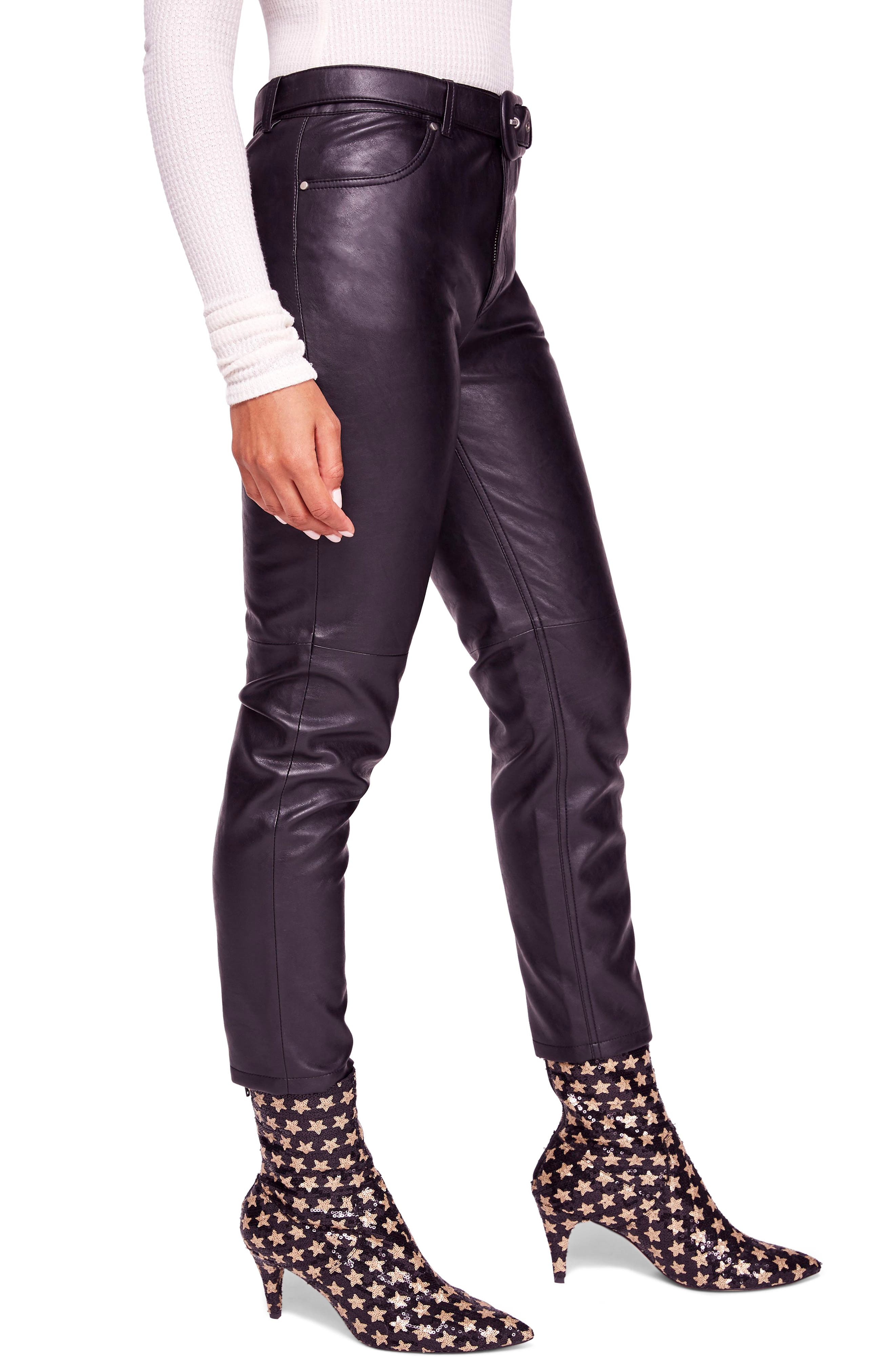 Belted Faux Leather Skinny Pants,                             Alternate thumbnail 3, color,                             001
