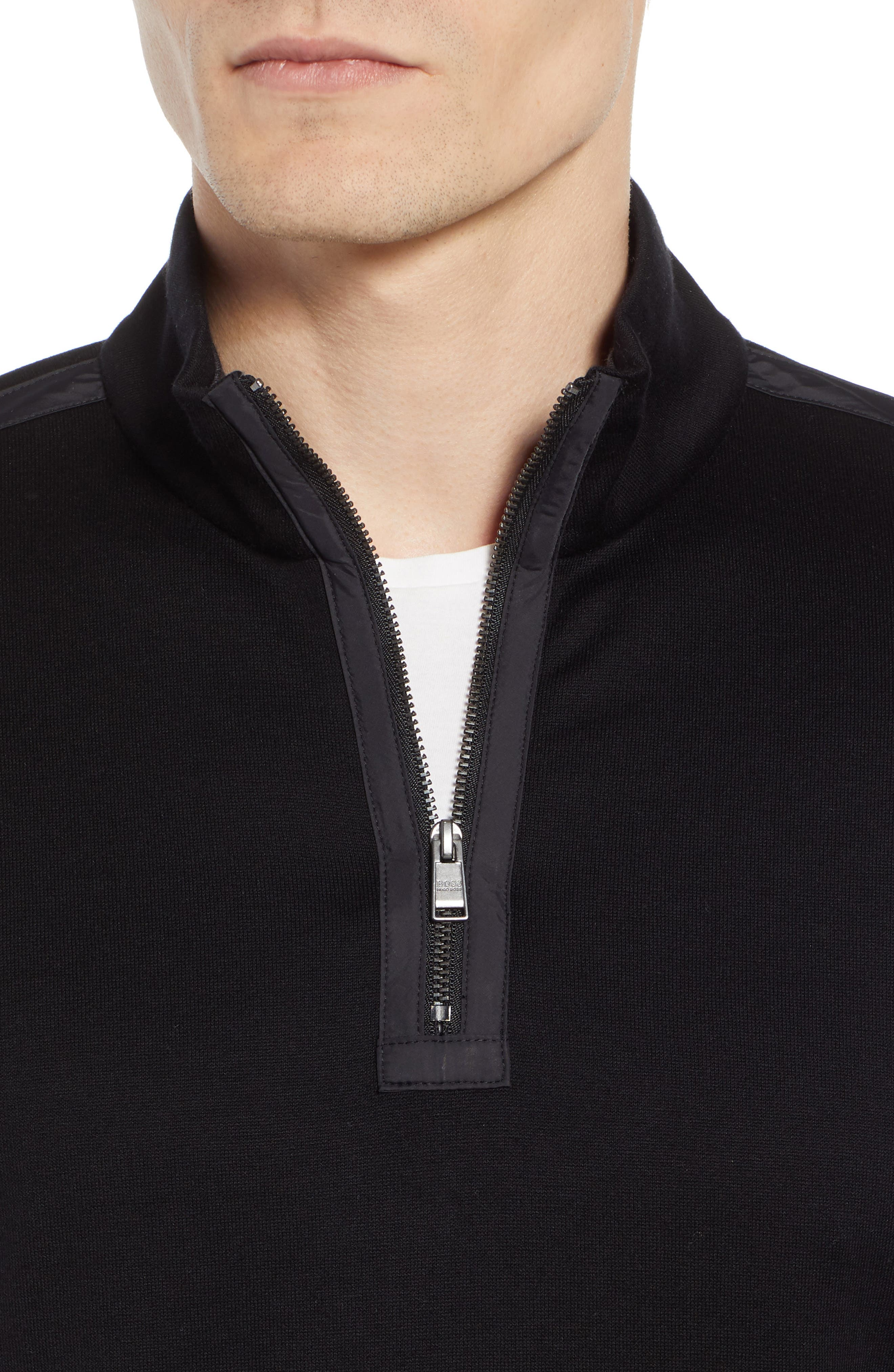 Sidney Regular Fit Quarter Zip Pullover,                             Alternate thumbnail 4, color,                             BLACK