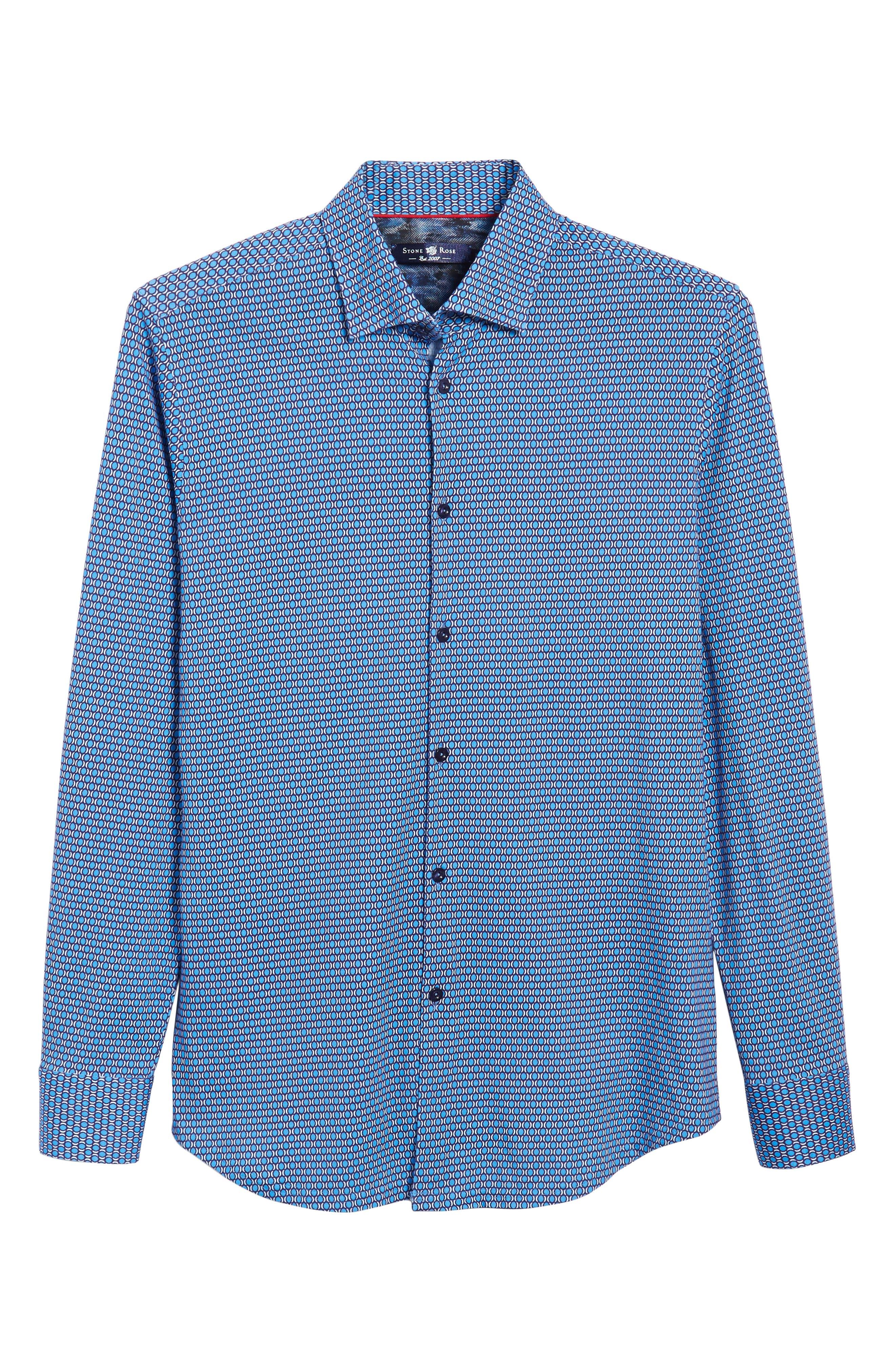 Slim Fit Geo Knit Sport Shirt,                             Alternate thumbnail 6, color,                             430