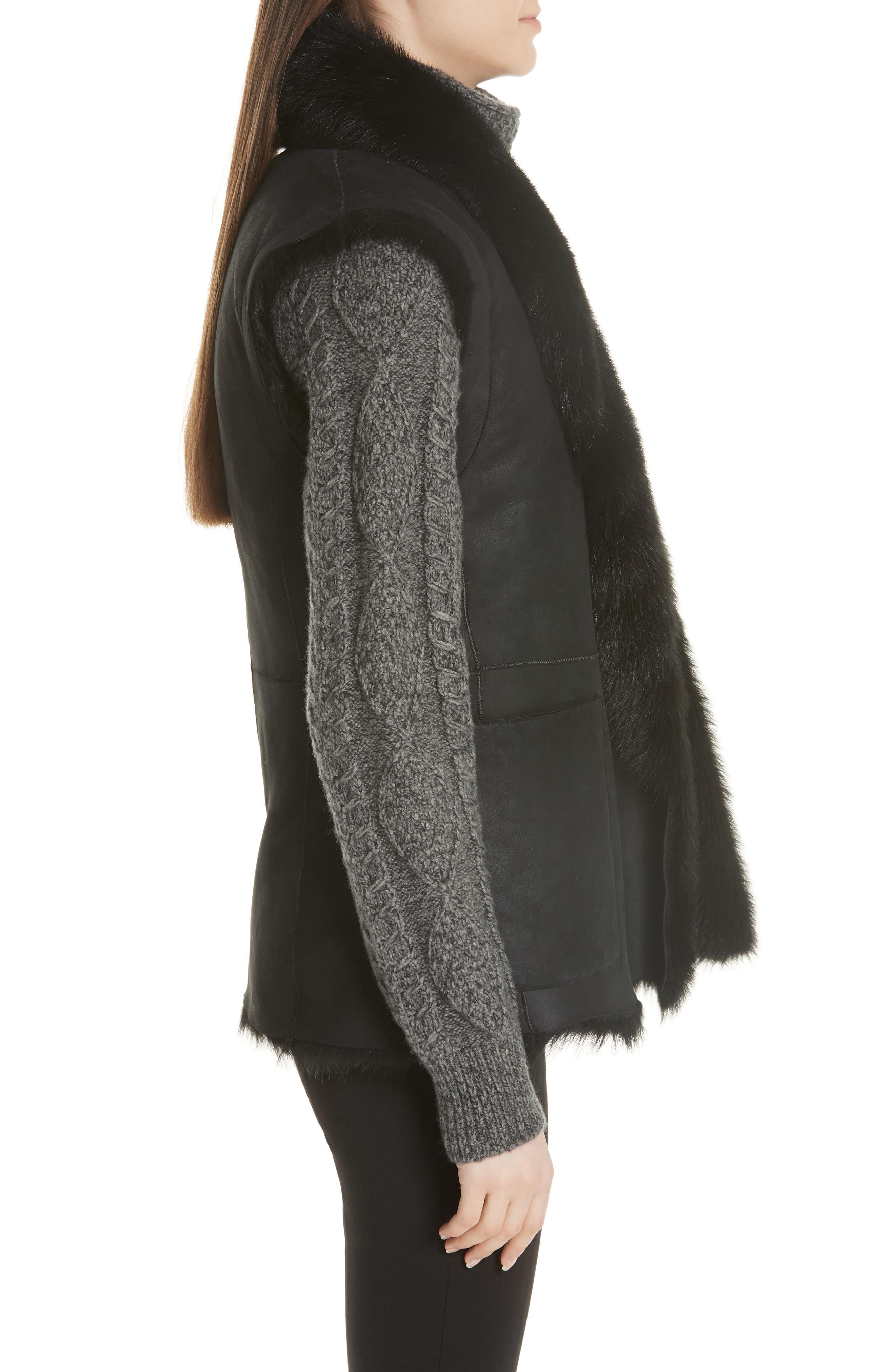 Genuine Toscana Shearling Vest,                             Alternate thumbnail 3, color,                             BLACK