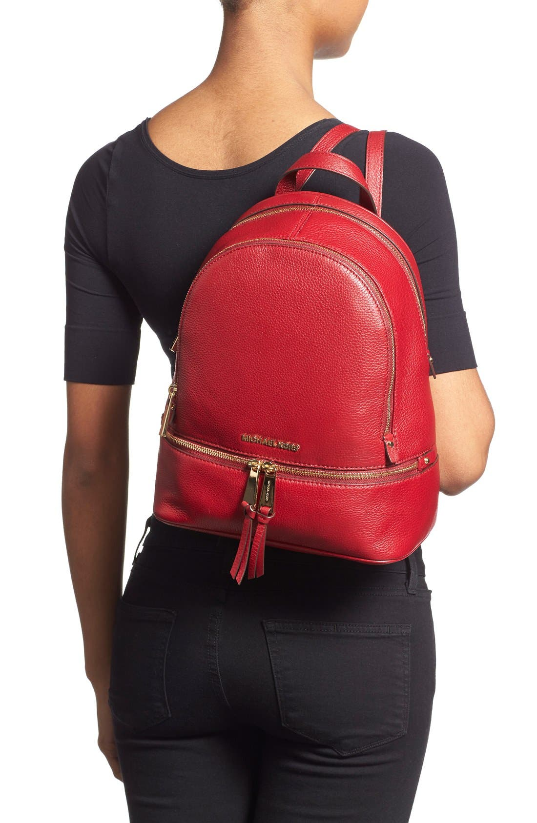 'Extra Small Rhea Zip' Leather Backpack,                             Alternate thumbnail 17, color,
