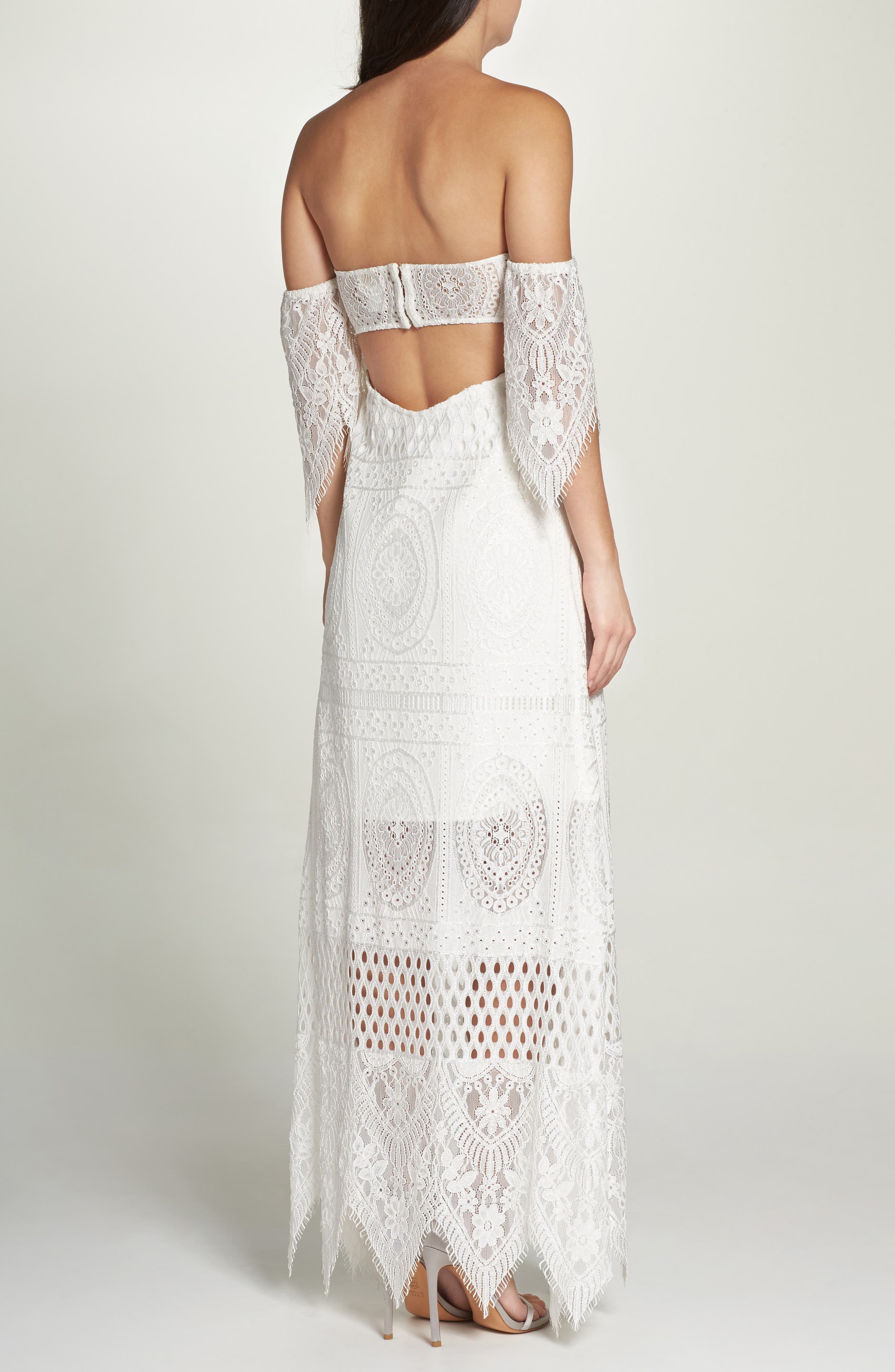 Lace Off the Shoulder Maxi Dress,                             Alternate thumbnail 2, color,                             900