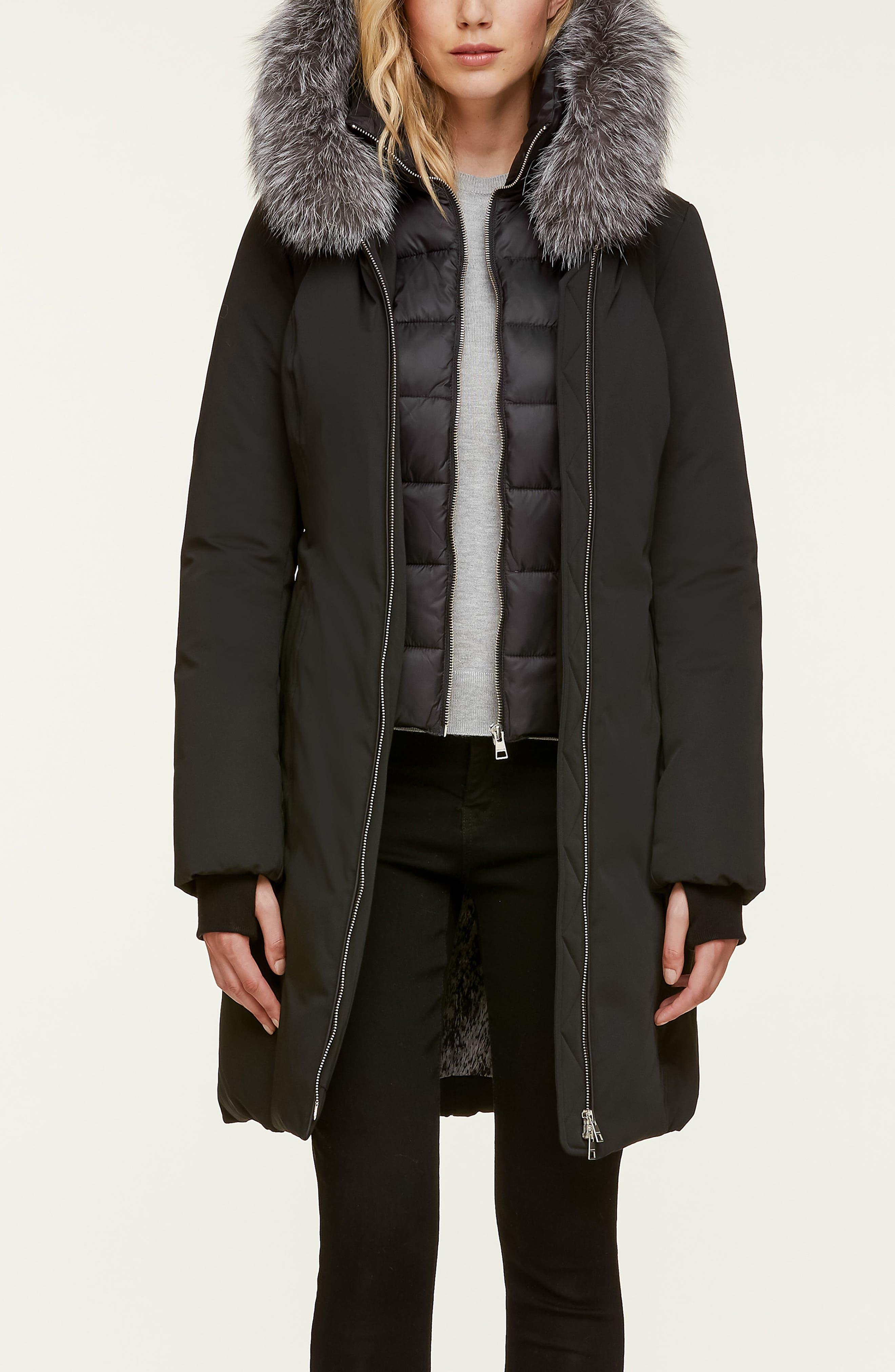 Slim Fit Water Resistant Down Jacket with Genuine Fox Fur Trim,                             Alternate thumbnail 4, color,                             BLACK