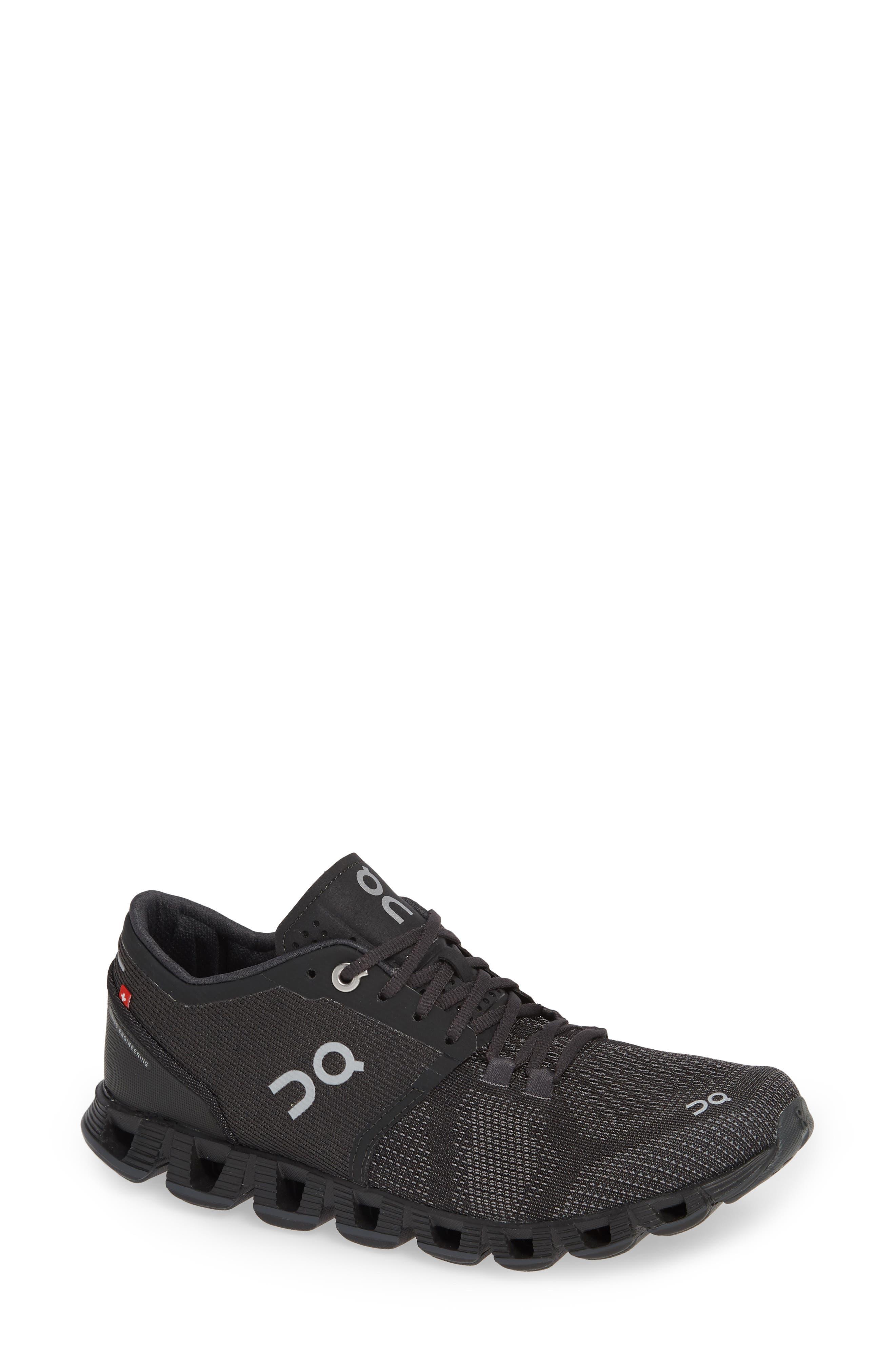 Cloud X Running Shoe,                             Main thumbnail 1, color,                             BLACK/ ASPHALT