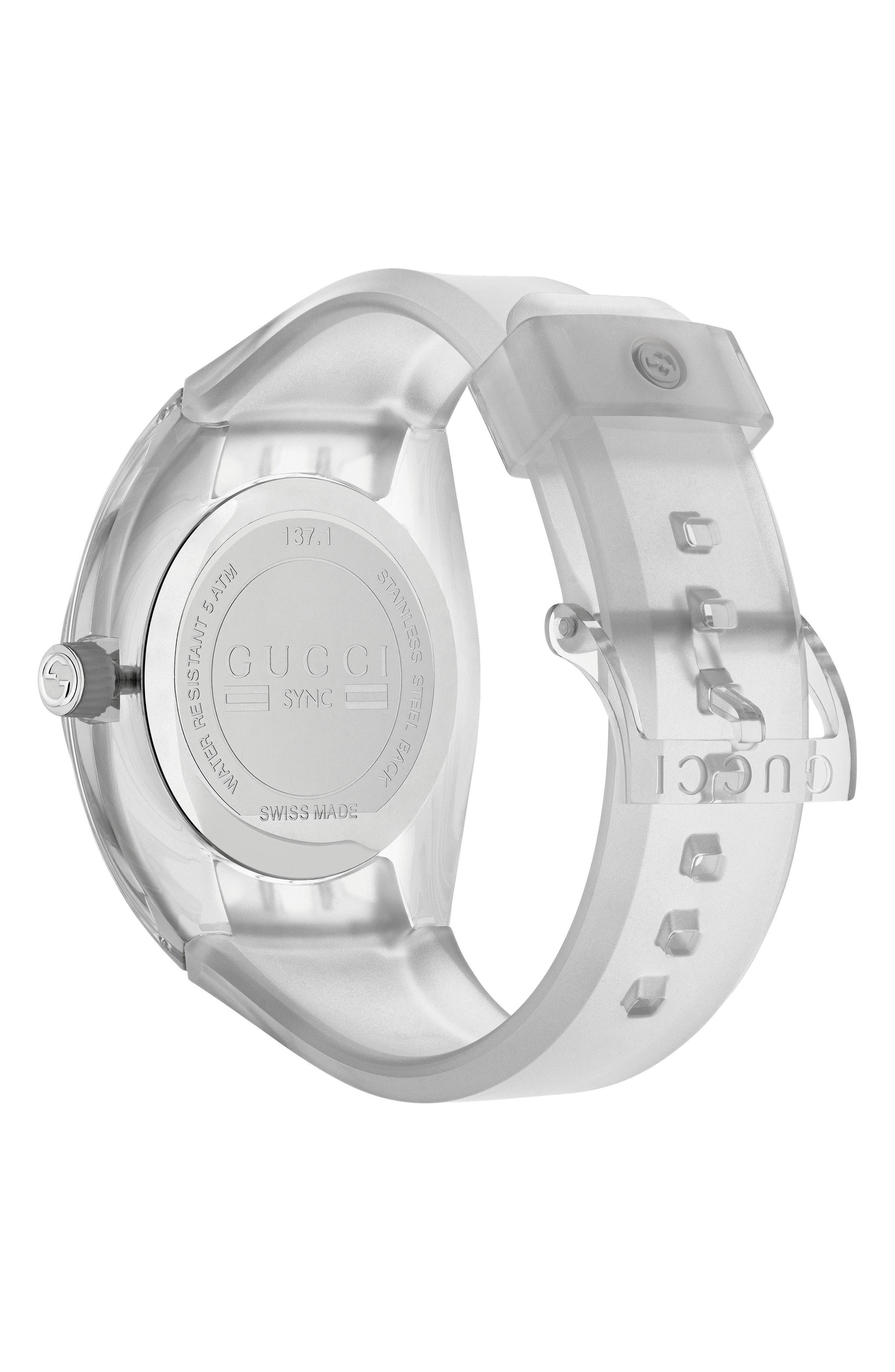 Sync Transparent Rubber Strap Watch, 46mm,                             Alternate thumbnail 2, color,                             WHITE