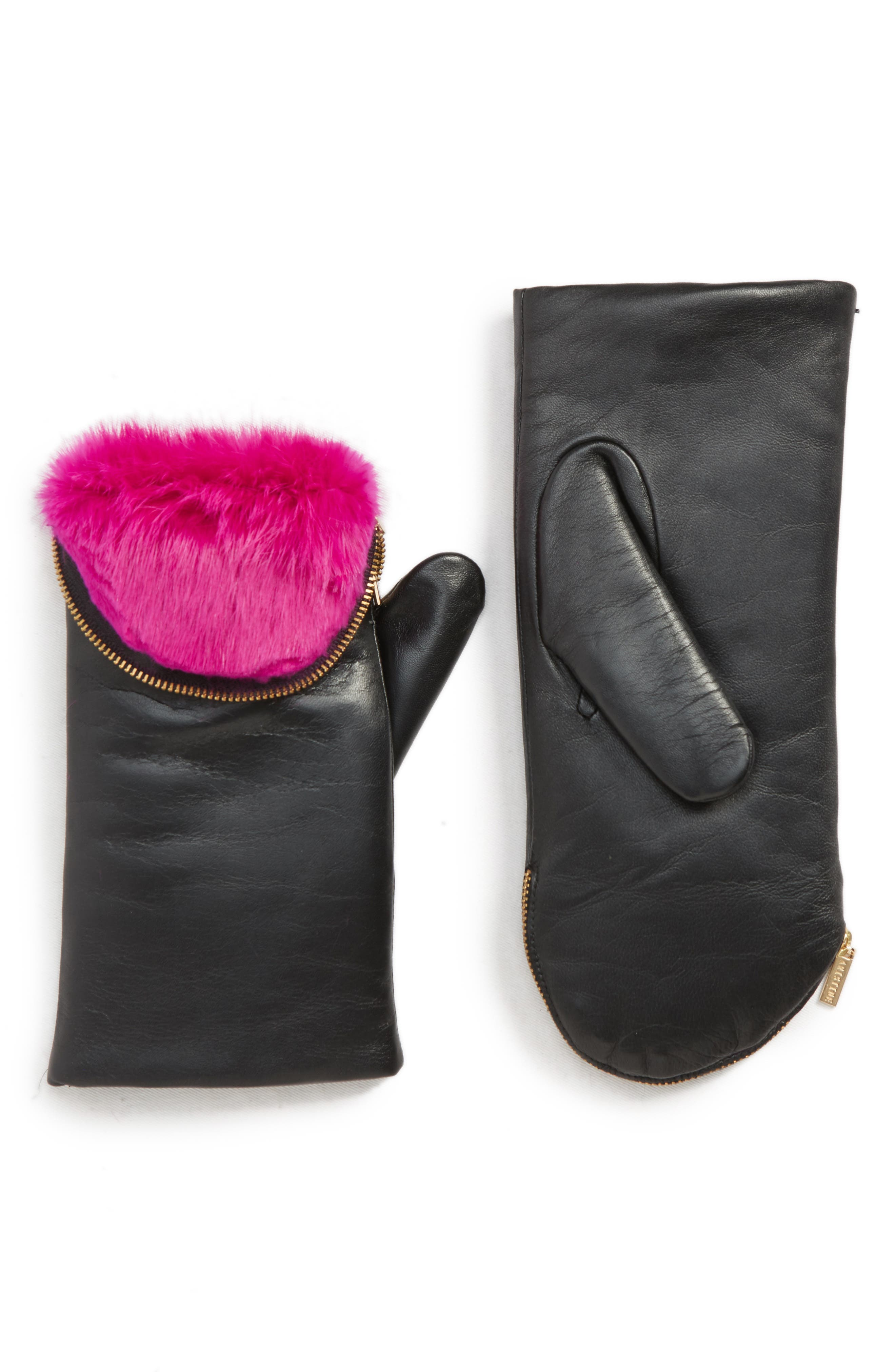 Genuine Rabbit Fur Lined Lambskin Leather Zip Mittens,                             Main thumbnail 1, color,                             NOIR/ PINK