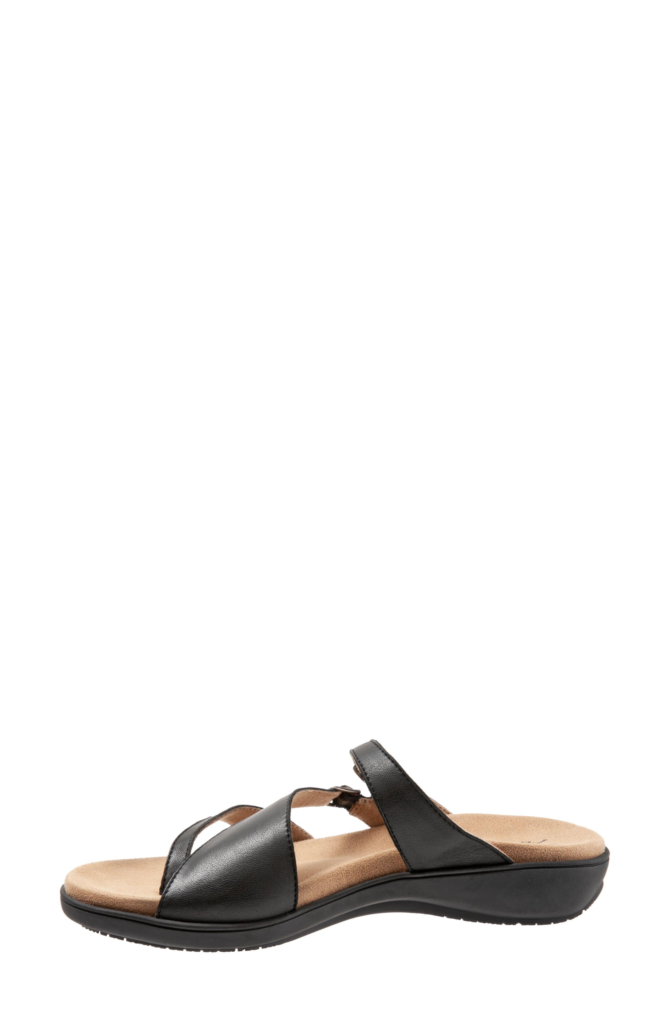 TROTTERS,                             Vanna Slide Sandal,                             Alternate thumbnail 8, color,                             BLACK LEATHER