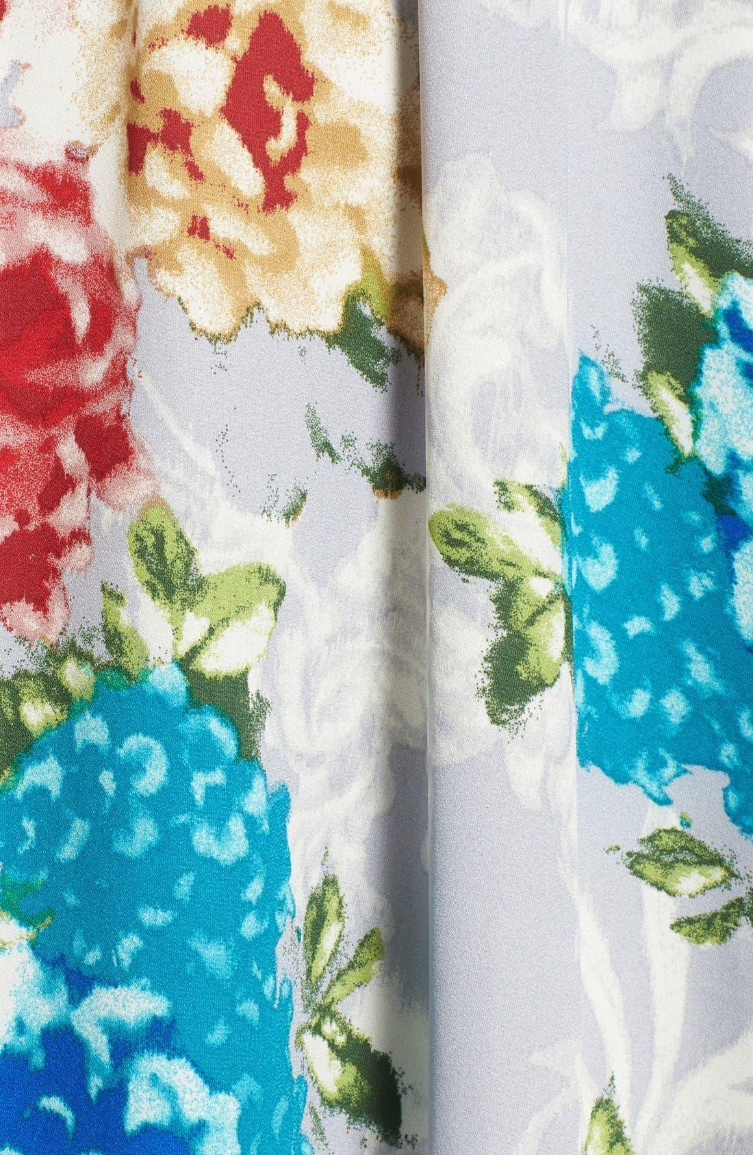 Floral Print High/Low Wrap Dress,                             Alternate thumbnail 5, color,                             020