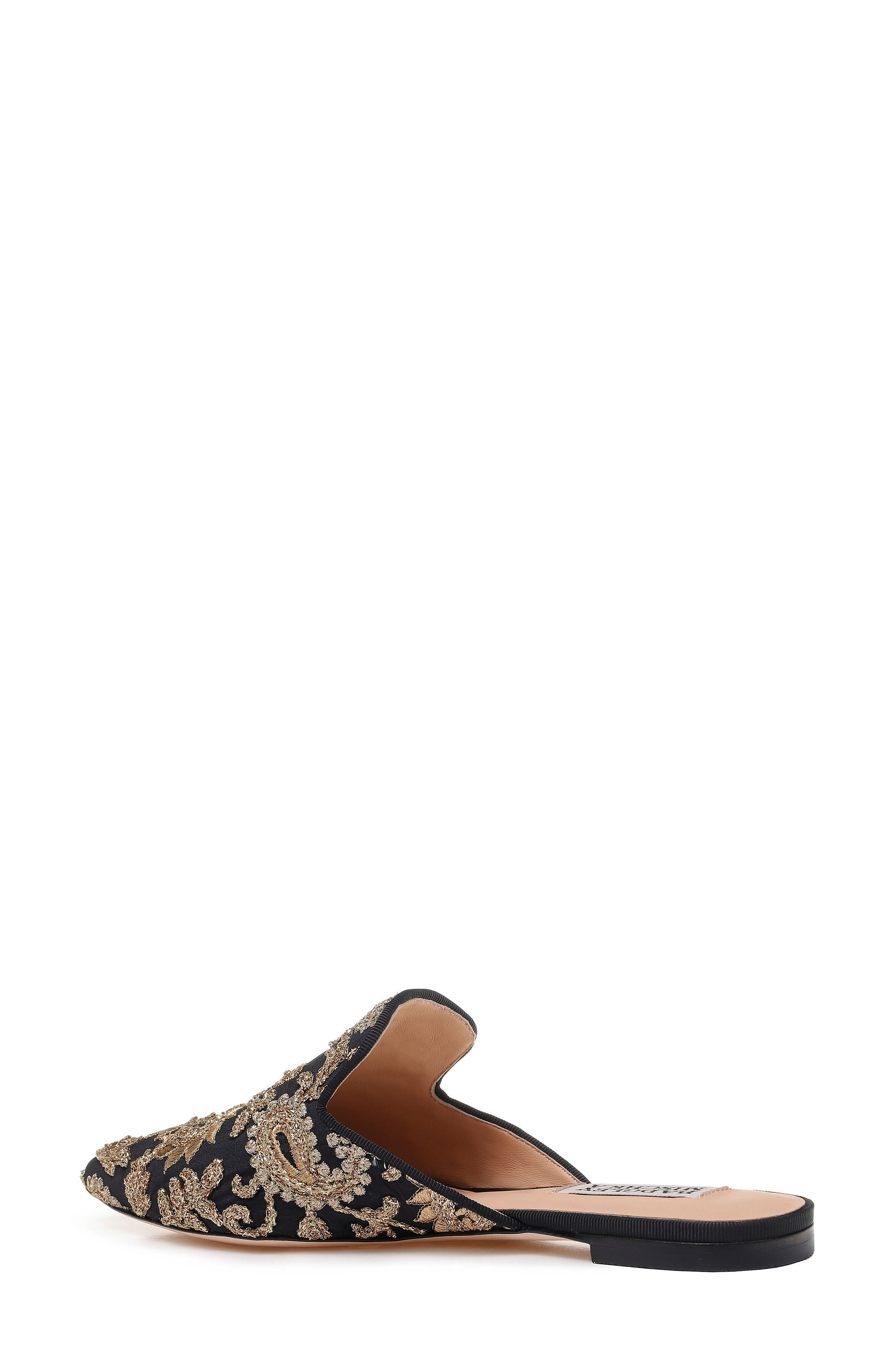 Phoebe Embroidered Mule,                             Alternate thumbnail 2, color,                             BLACK FABRIC