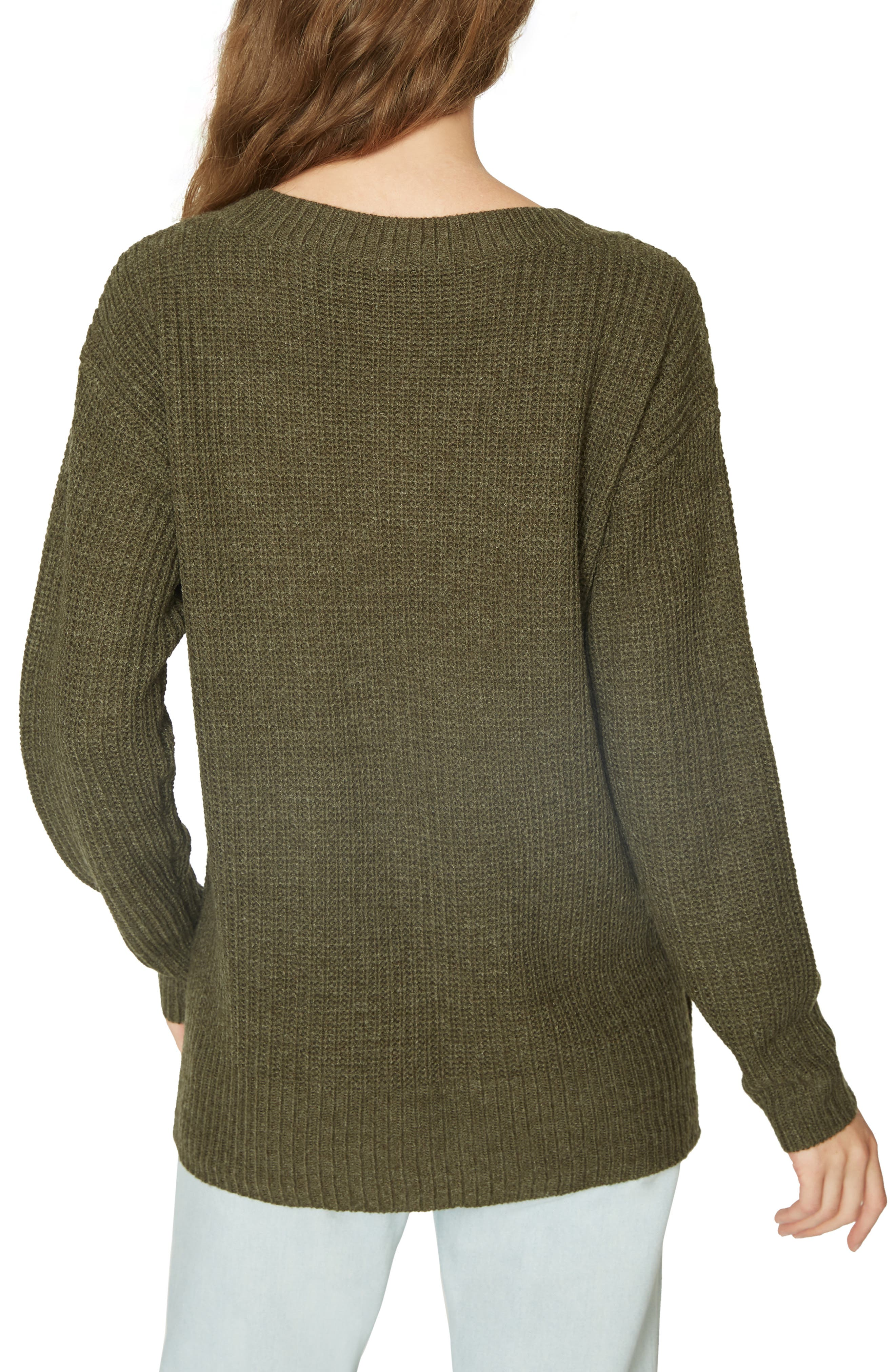 Amare Shaker Sweater,                             Alternate thumbnail 2, color,                             HEATHER PROSPERITY GREEN