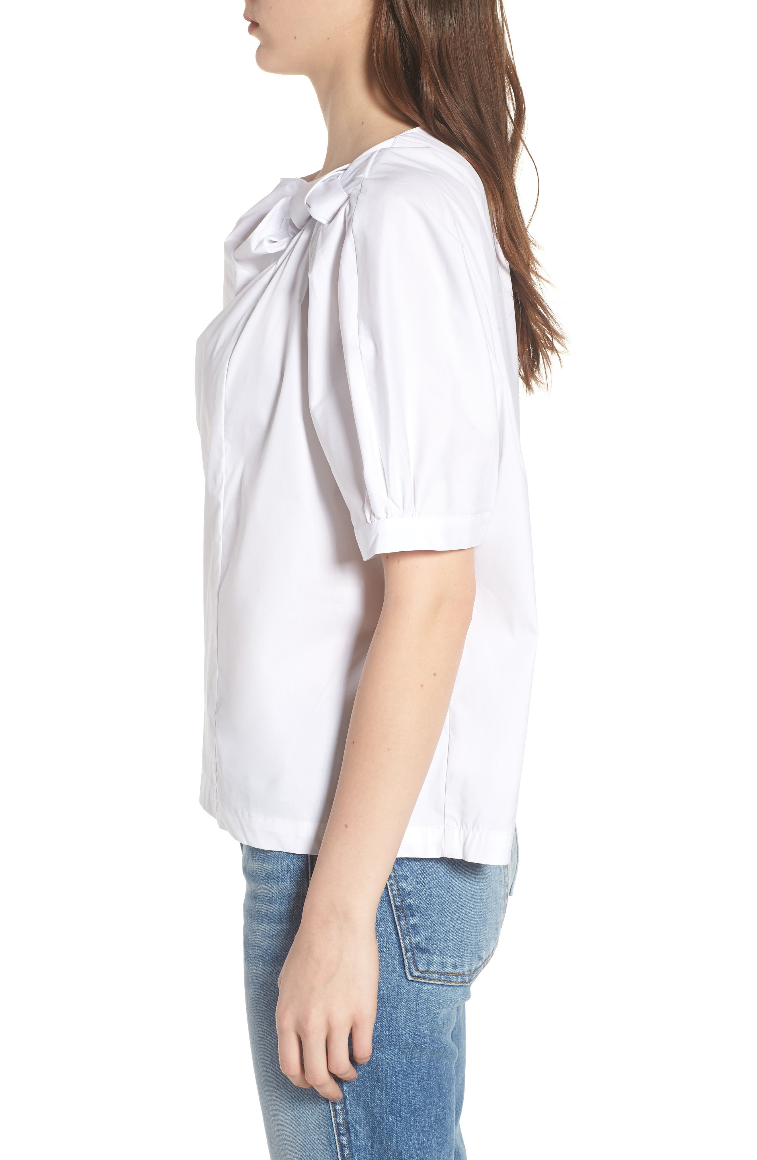 Knot Neck Top,                             Alternate thumbnail 3, color,                             WHITE