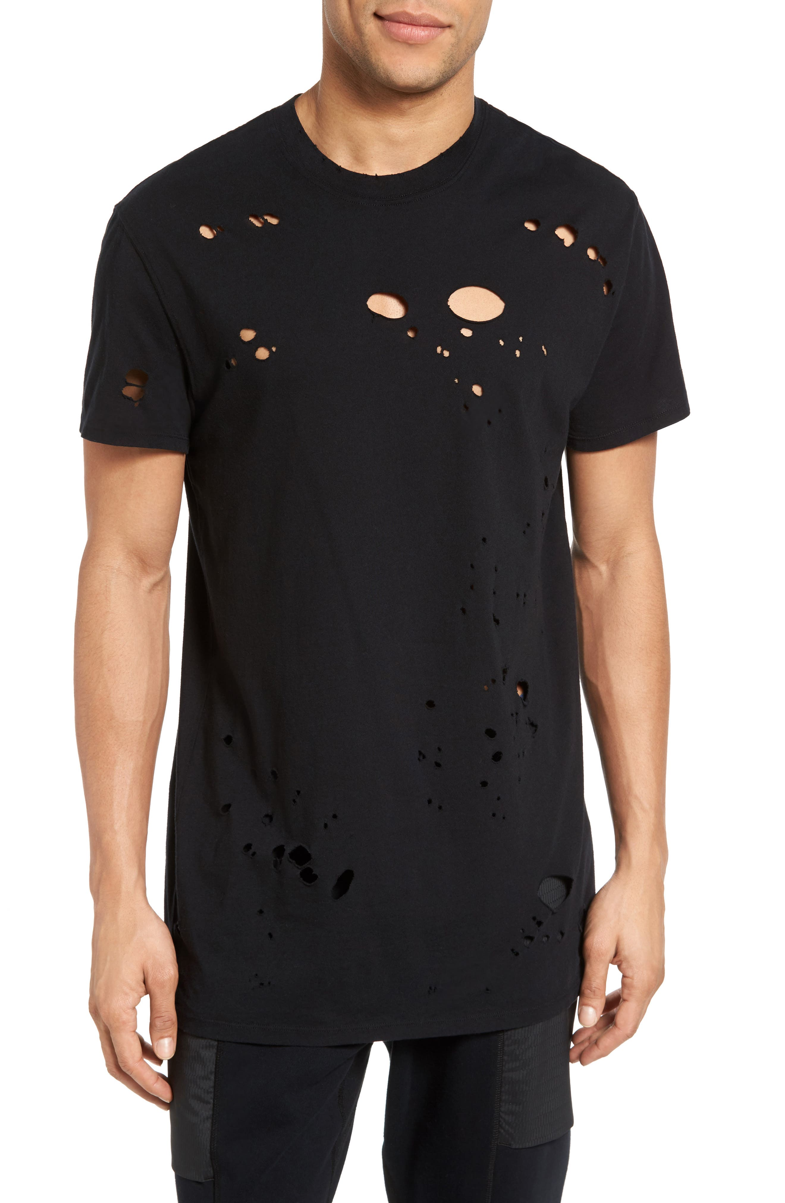 Torn Crewneck T-Shirt,                         Main,                         color, 002