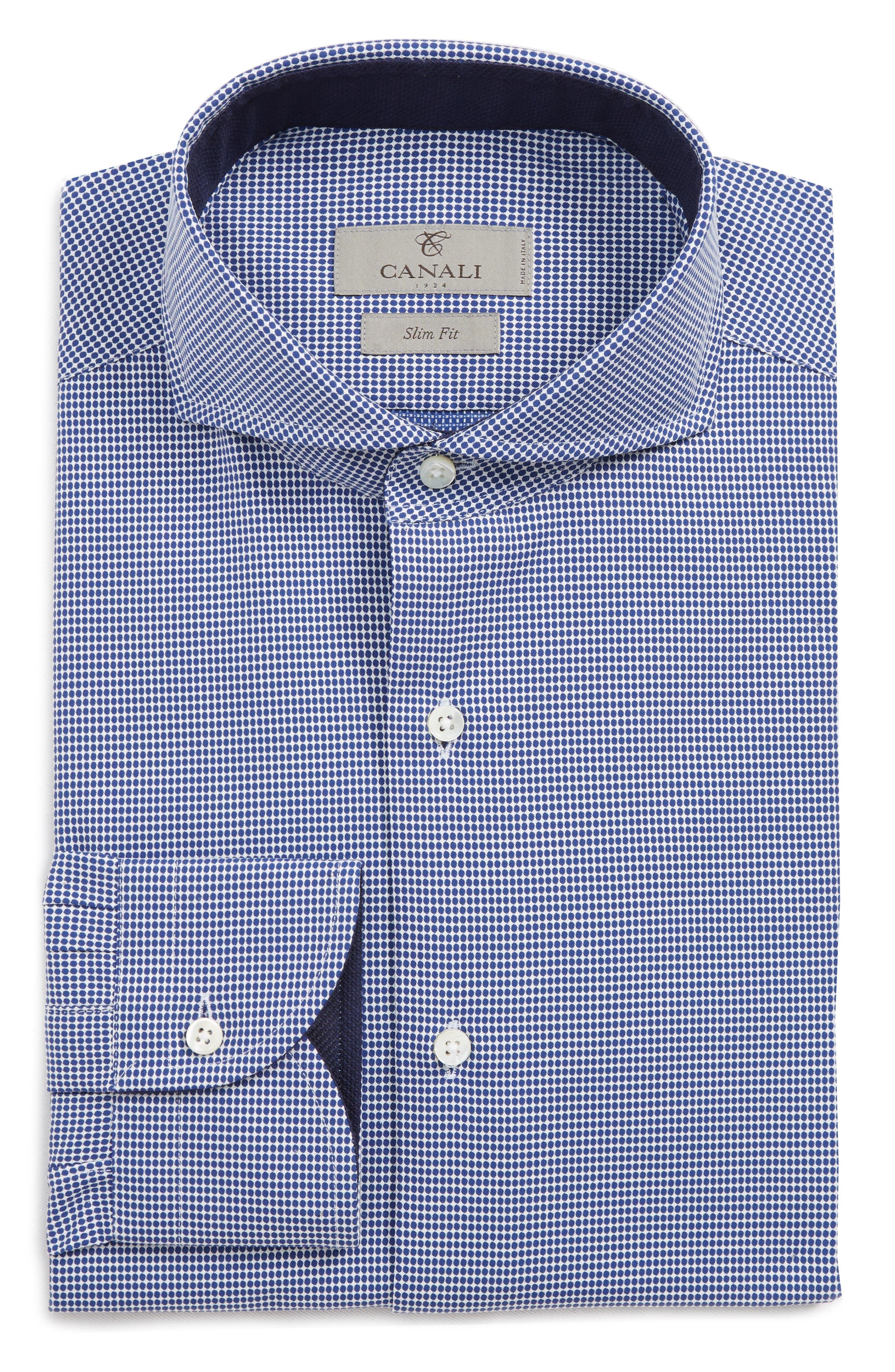 Slim Fit Dot Dress Shirt,                             Alternate thumbnail 6, color,                             NAVY
