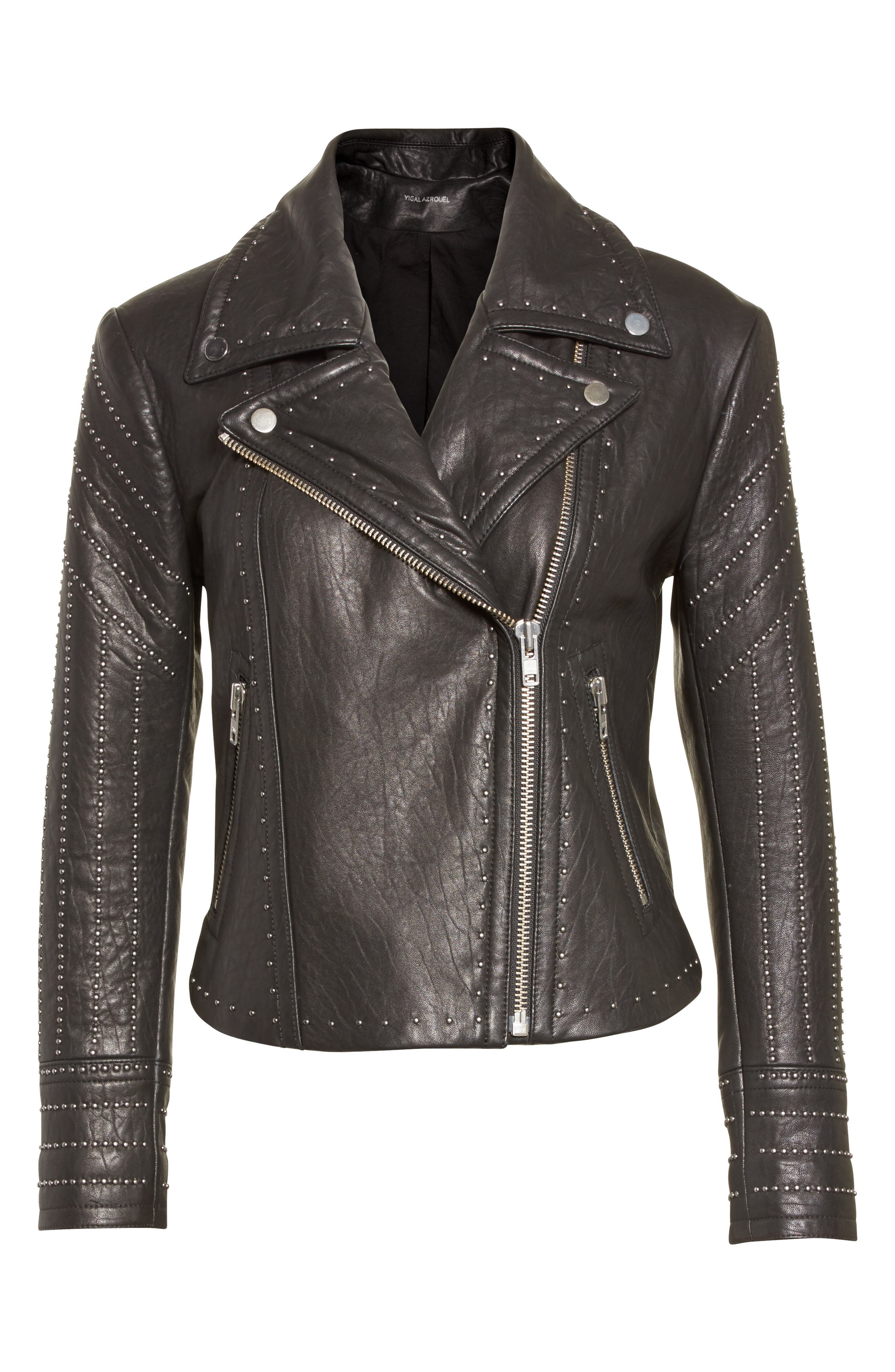 Studded Leather Jacket,                             Alternate thumbnail 5, color,                             001