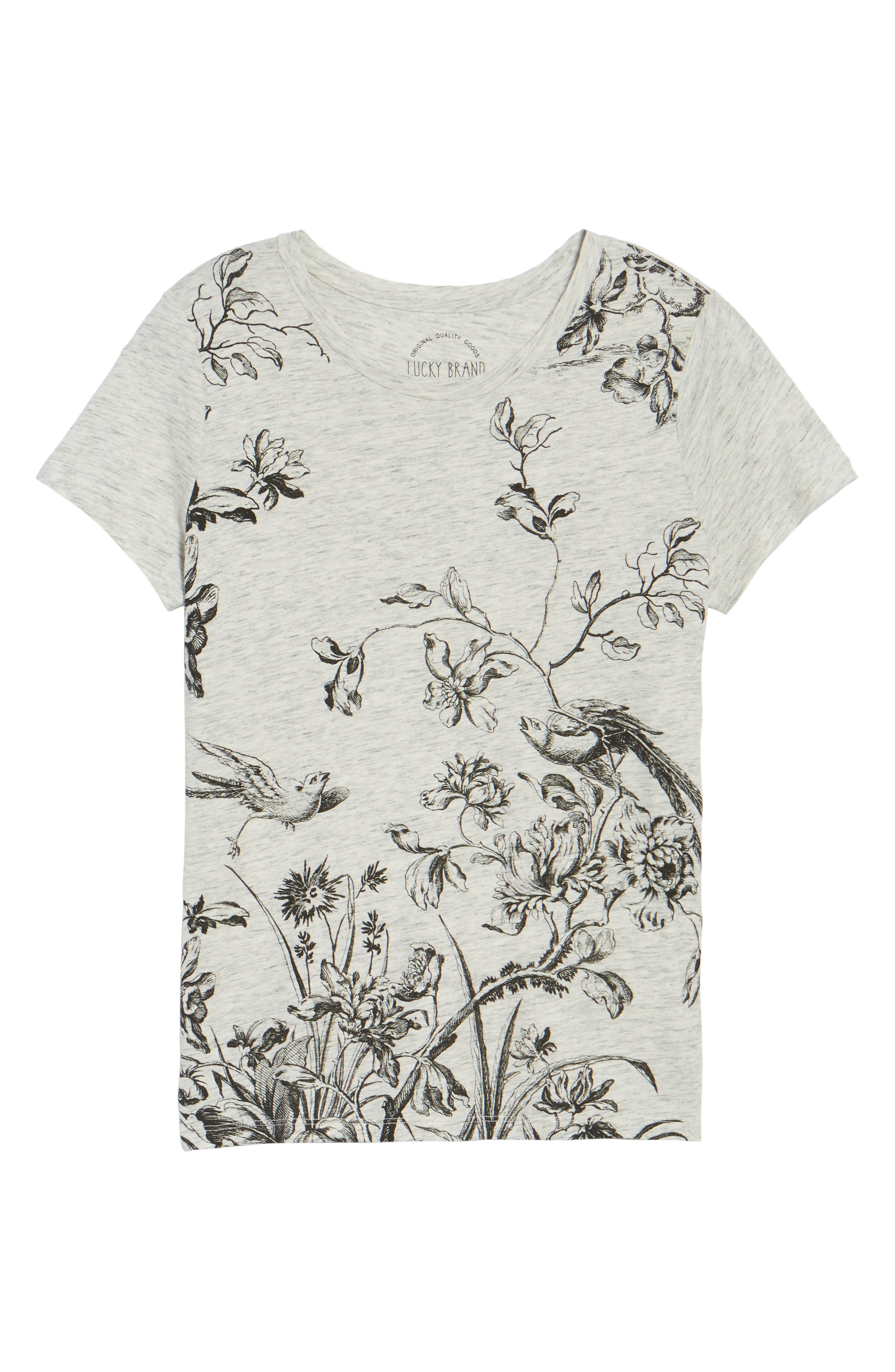 Floral Print Tee,                             Alternate thumbnail 6, color,