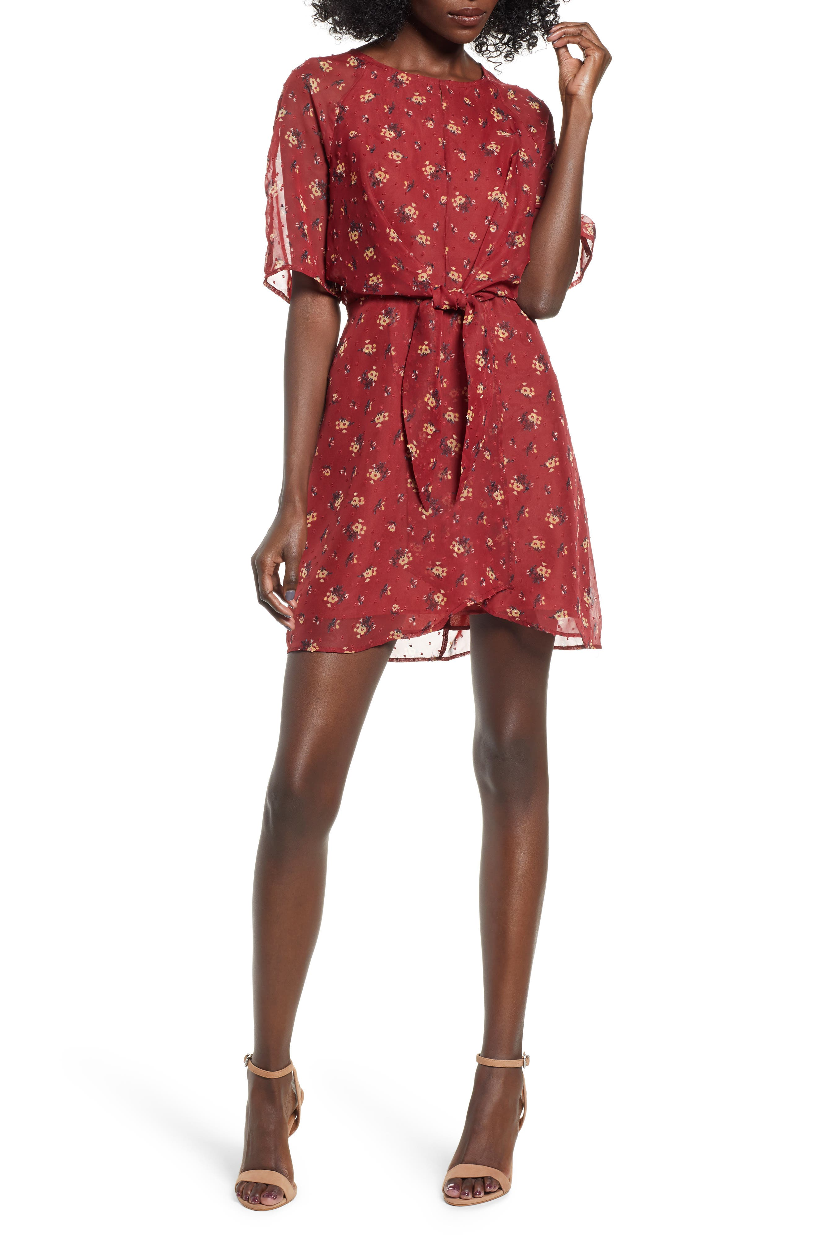 LOVE, FIRE Floral Print Dress in Brick