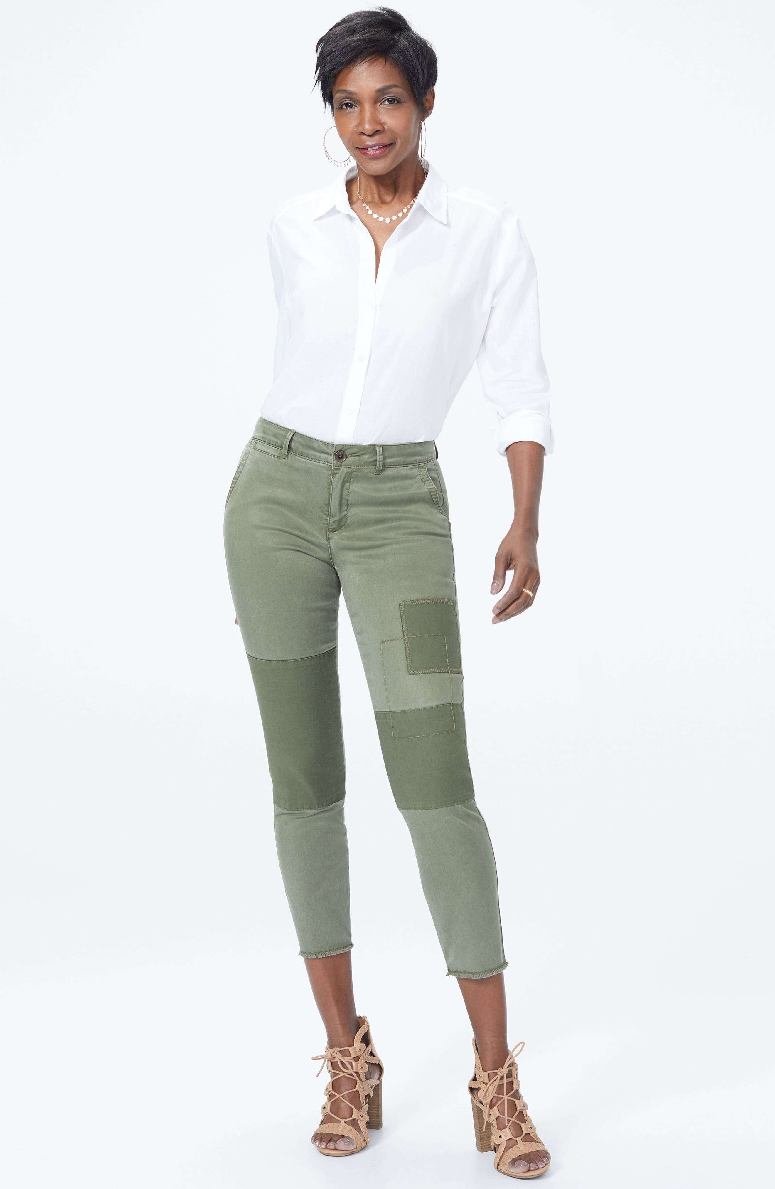 Reverse Patch Skinny Chino Pants,                             Alternate thumbnail 4, color,                             OLIVE