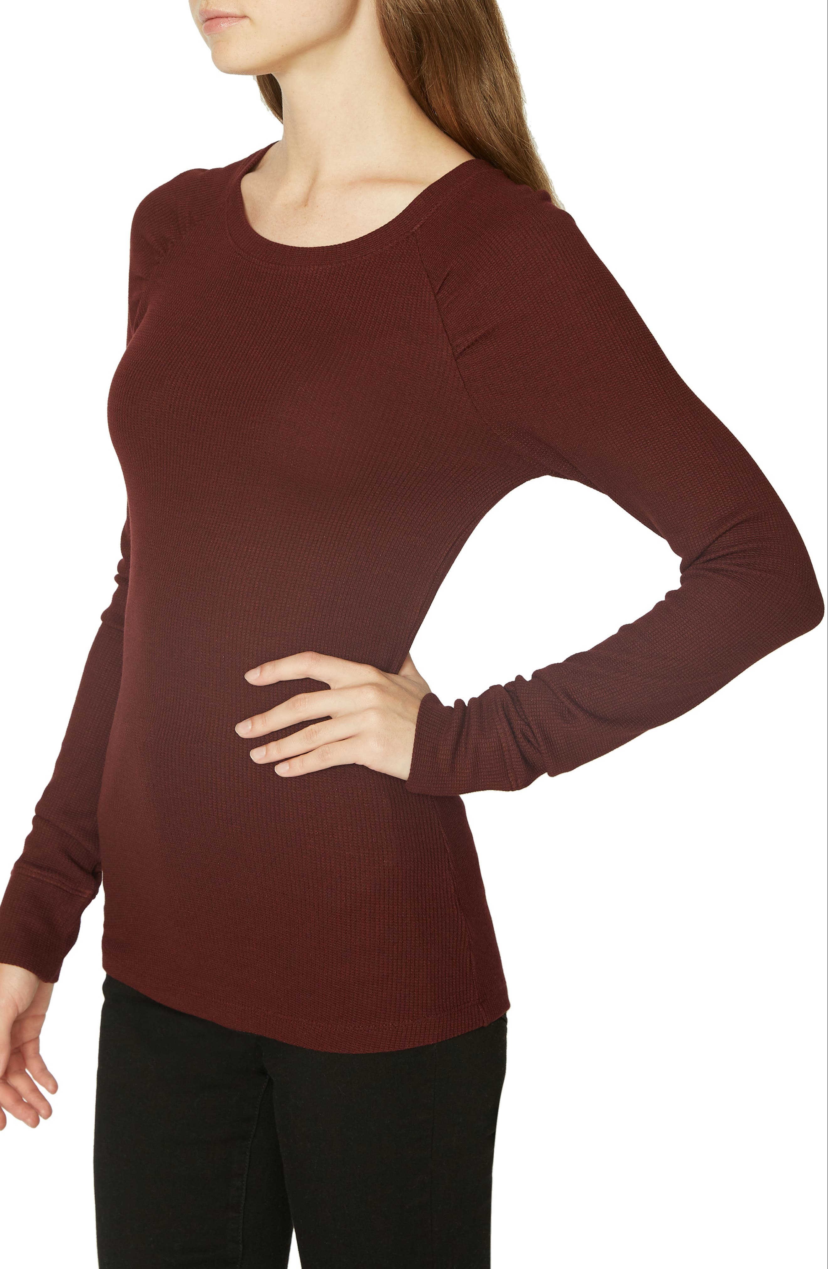 Kenzie Thermal Pullover,                             Alternate thumbnail 3, color,                             SCARLET
