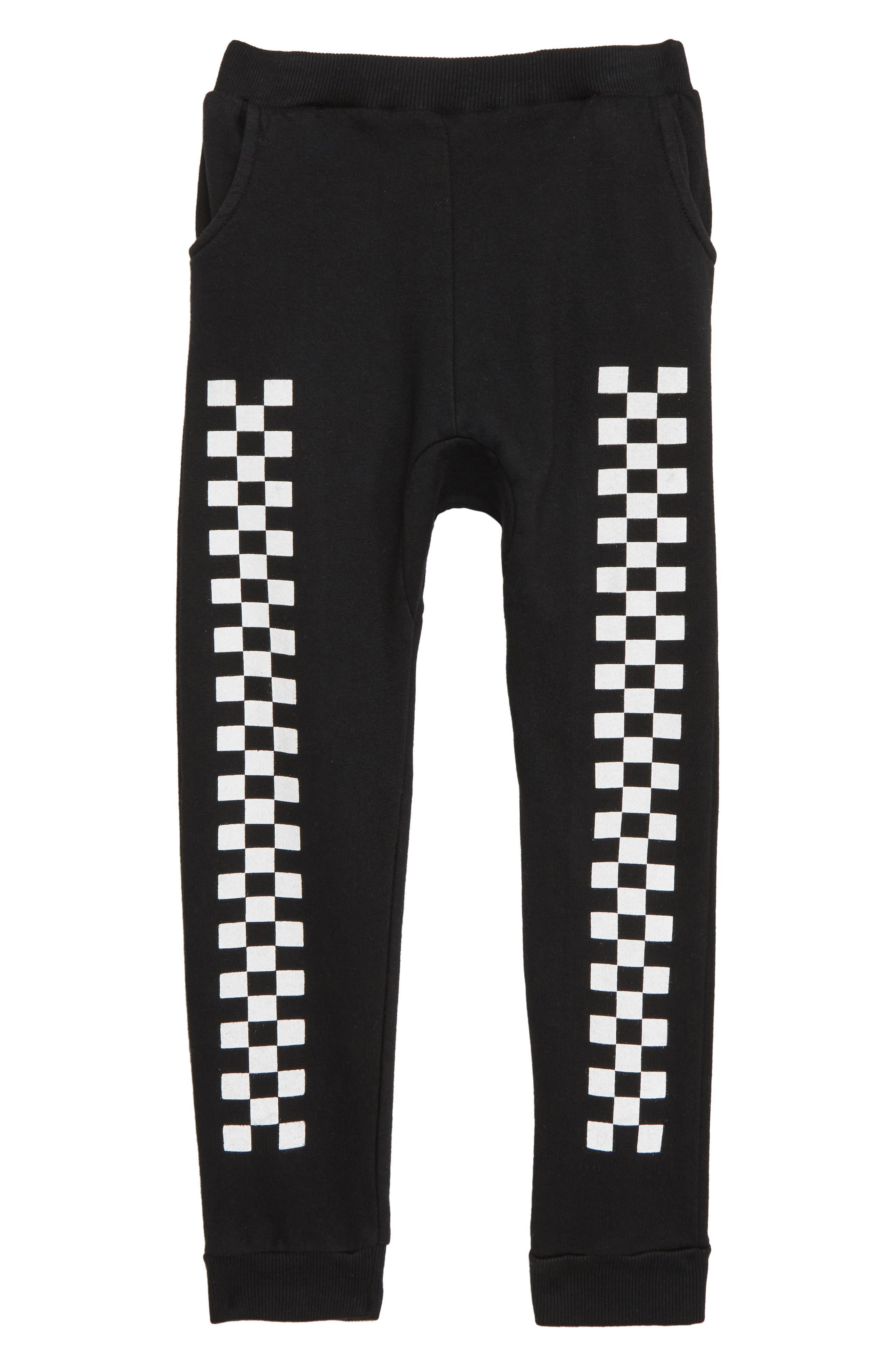 Checker Jogger Pants,                             Main thumbnail 1, color,                             BLACK