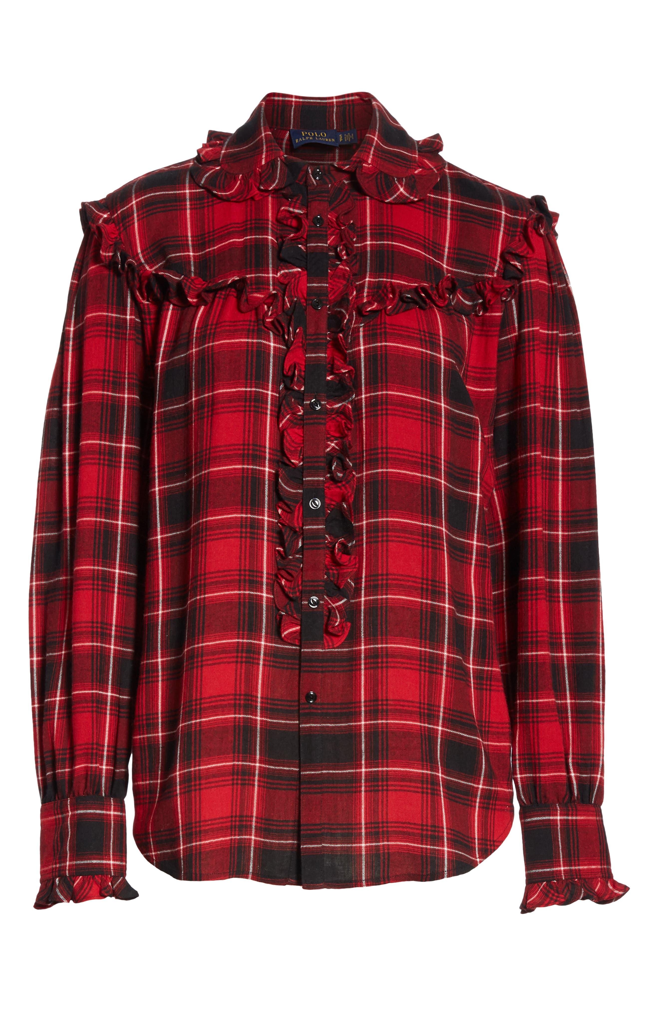 Ruffle Plaid Shirt,                             Alternate thumbnail 6, color,                             RED/ BLACK