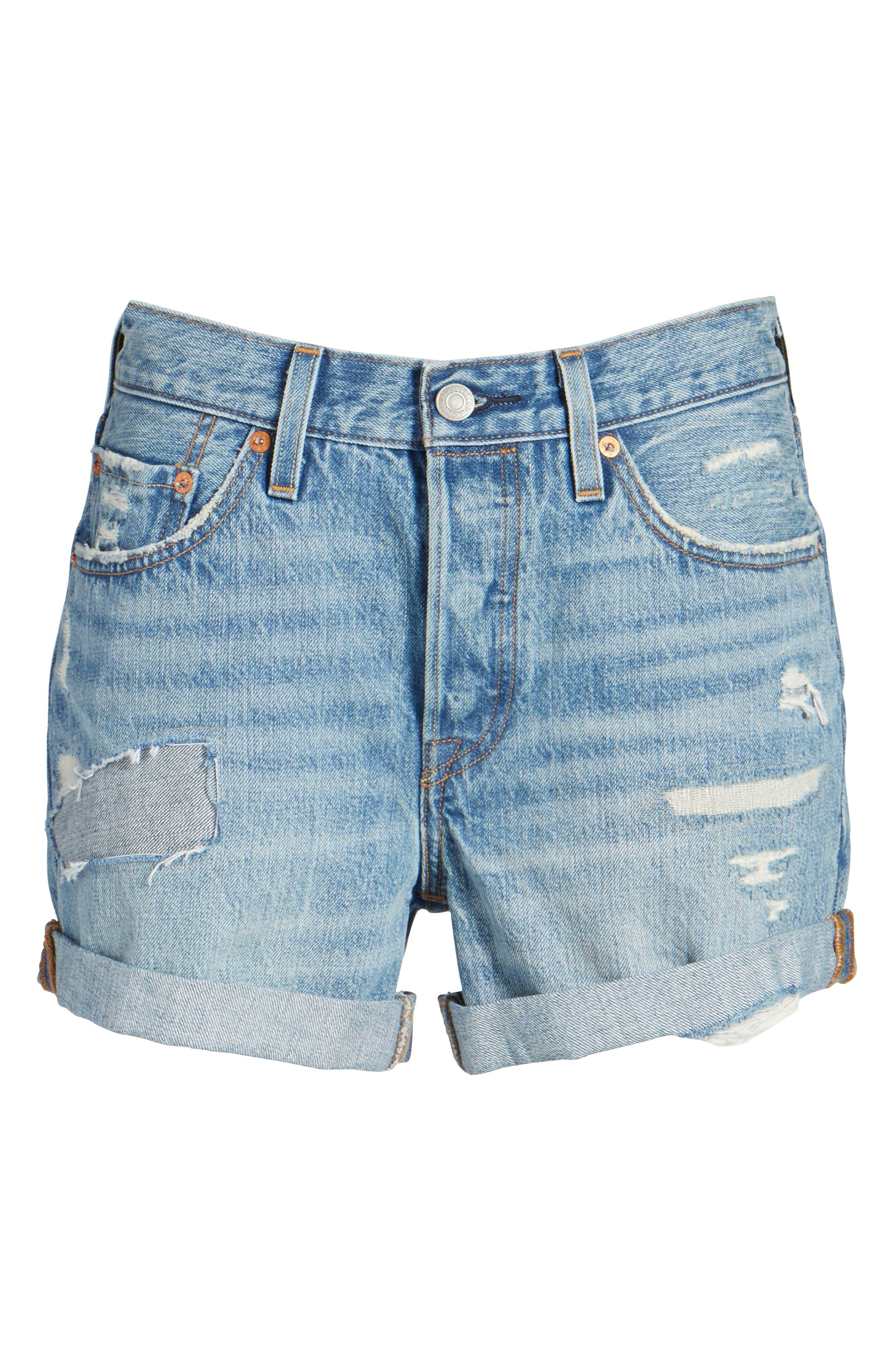 501 Long Denim Shorts,                             Alternate thumbnail 6, color,                             400