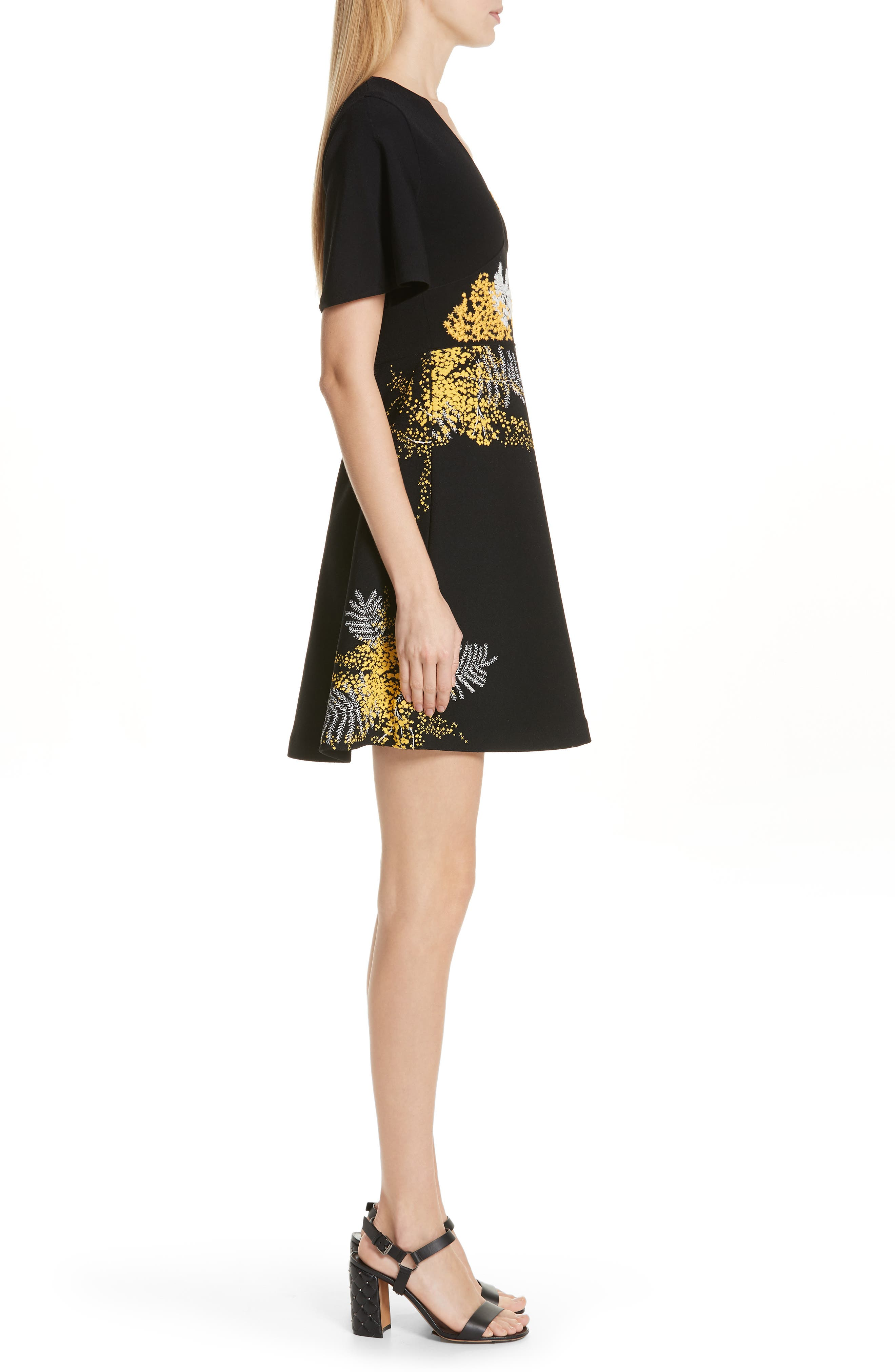 Mimosa Embroidered Fit & Flare Dress,                             Alternate thumbnail 3, color,                             BLACK/ MULTI COLOR