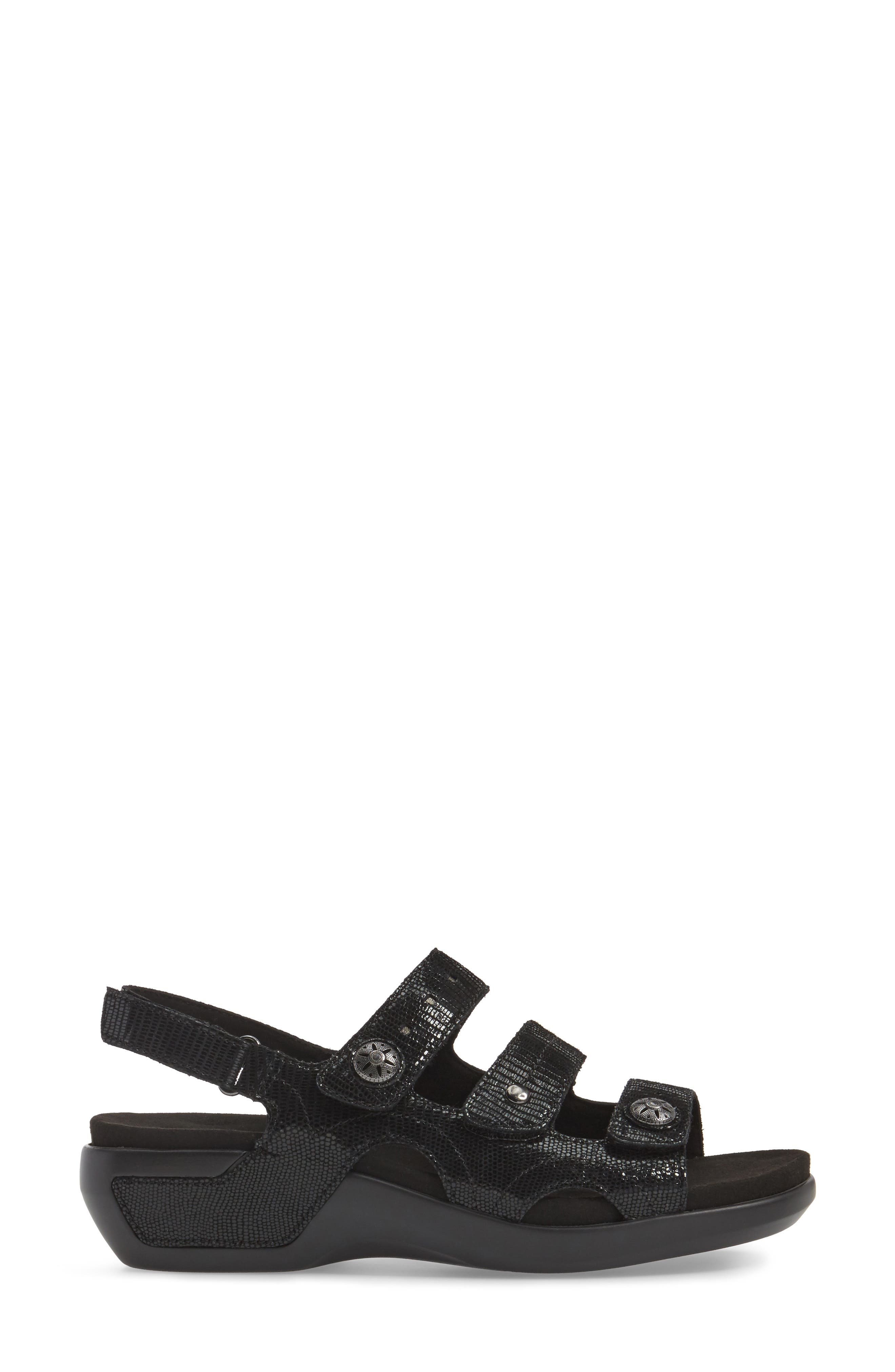 PC Wedge Sandal,                             Alternate thumbnail 3, color,                             BLACK FABRIC