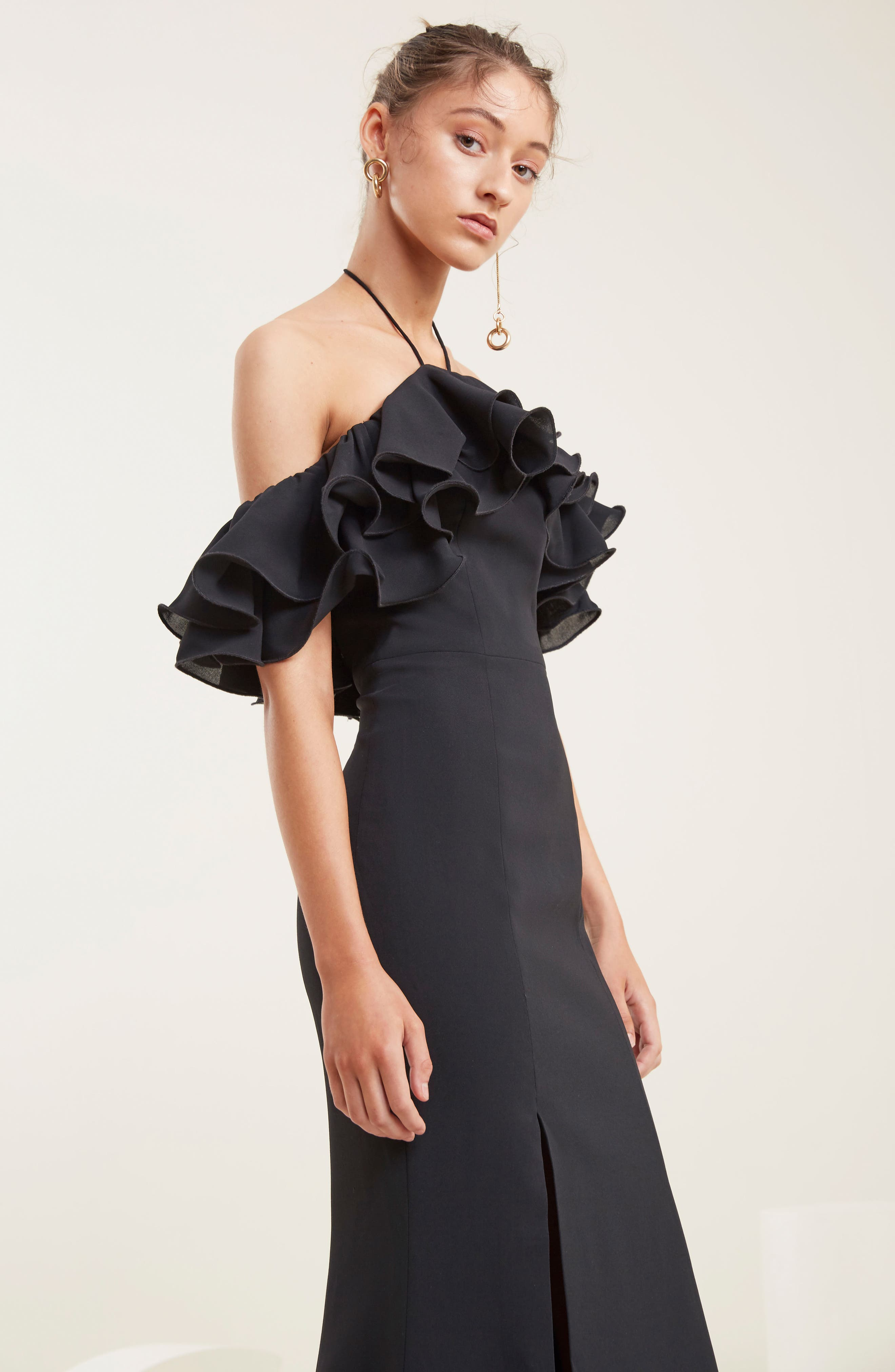 Immerse Ruffle Halter Gown,                             Alternate thumbnail 13, color,