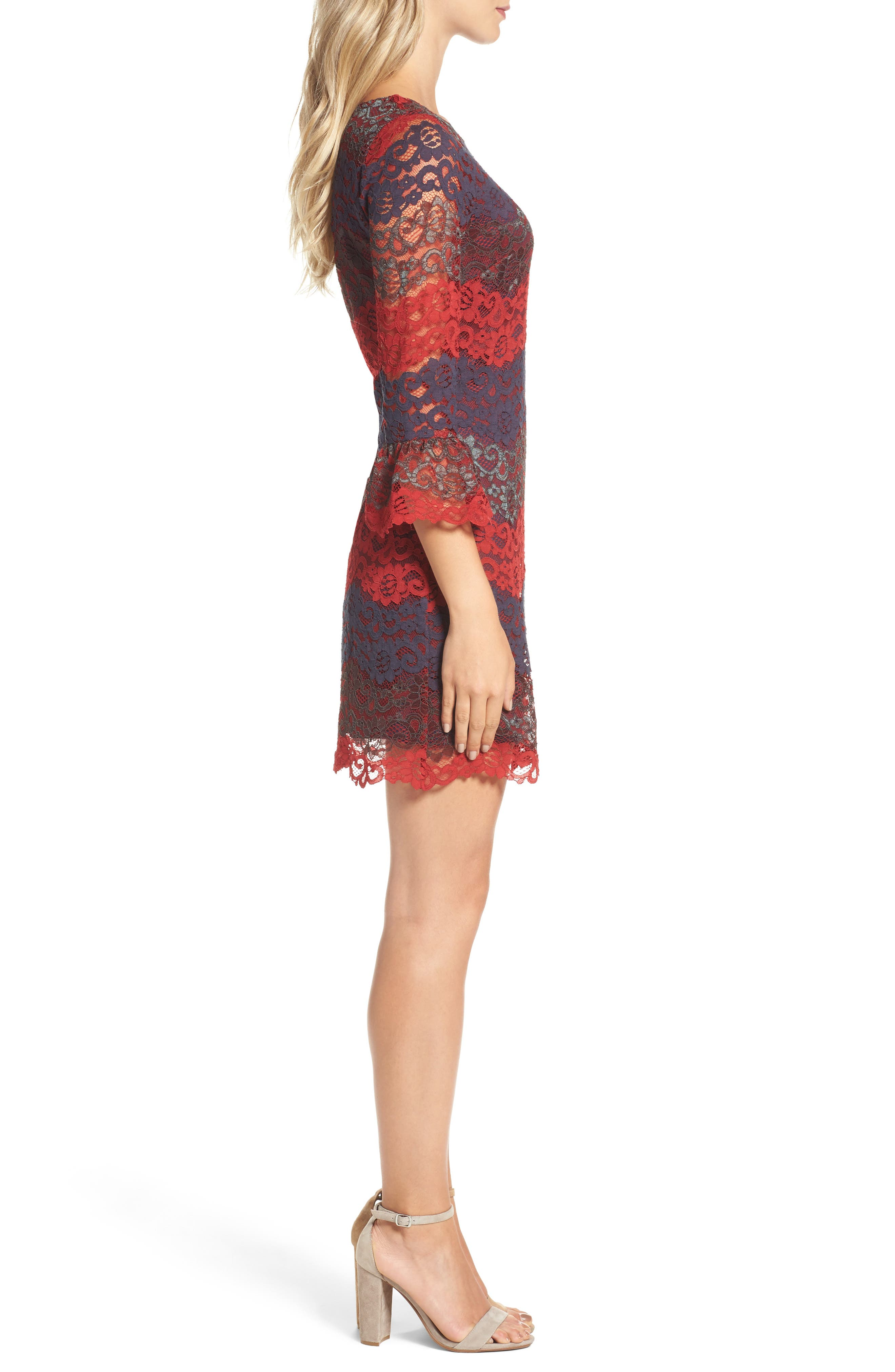 Lace Bell Sleeve Dress,                             Alternate thumbnail 11, color,