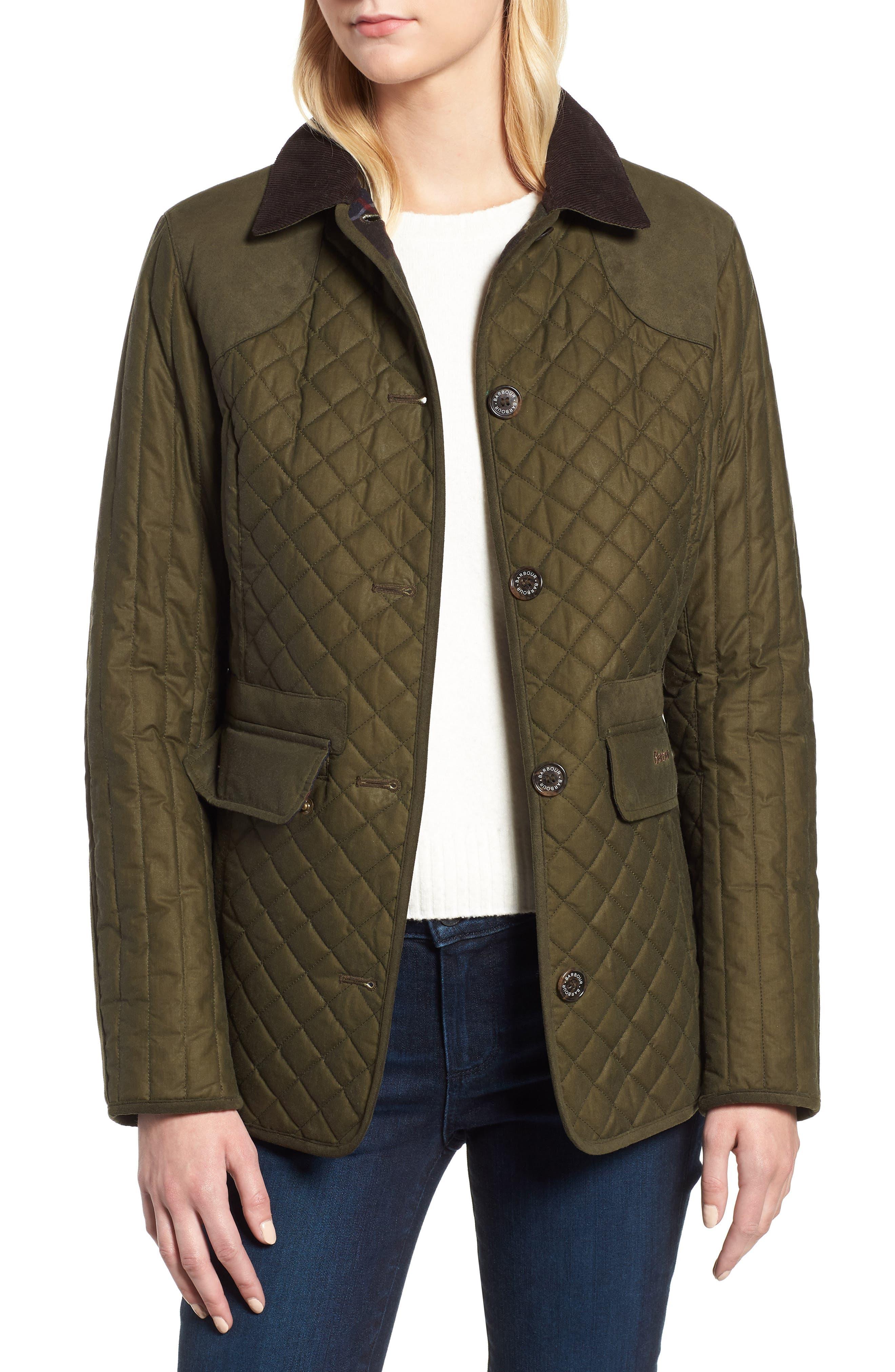 Barbour Dunnock Water Resistant Waxed Cotton Jacket, US / 8 UK - Green