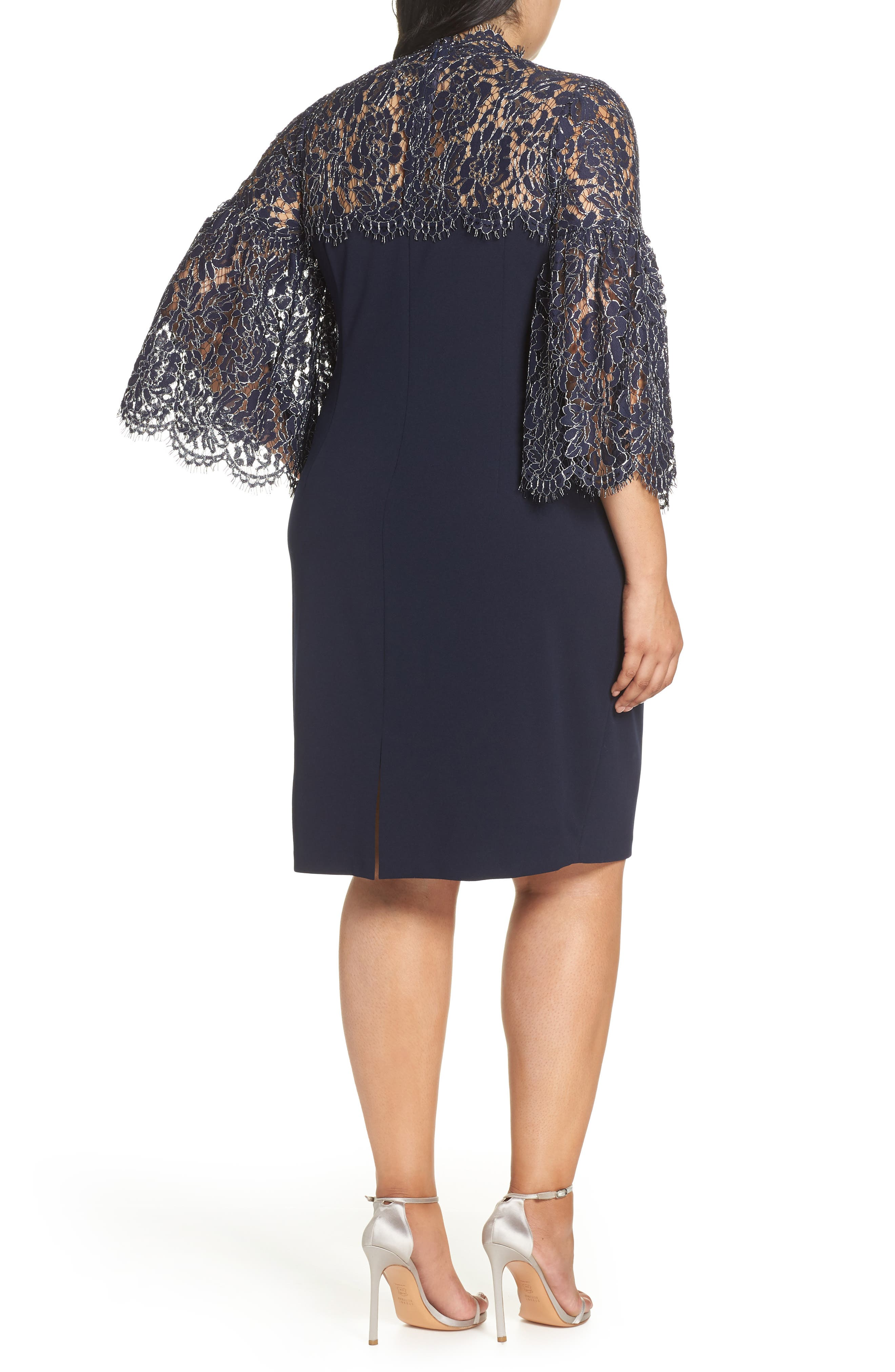 Lace Yoke Scuba Crepe Dress,                             Alternate thumbnail 2, color,                             NAVY