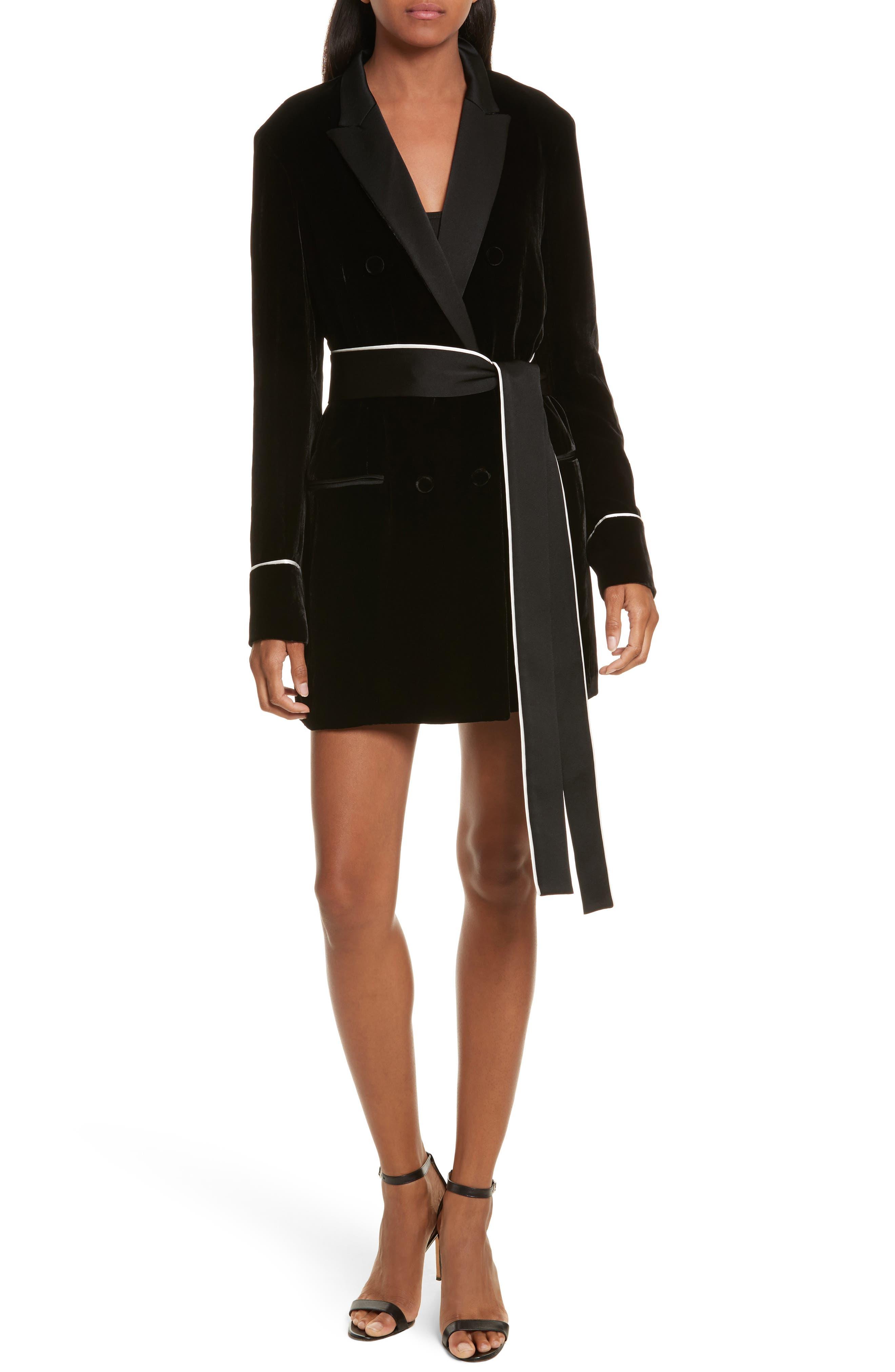 Diane Kruger x GREY Jason Wu Velvet Shirtdress,                             Main thumbnail 1, color,                             001