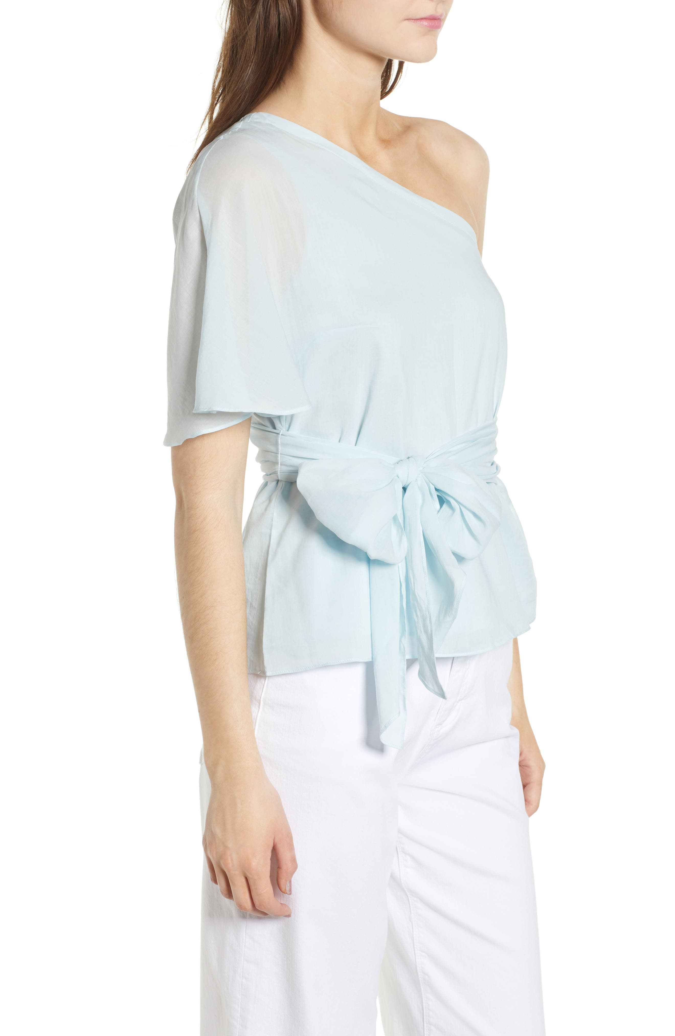 Tie Waist One-Shoulder Blouse,                             Alternate thumbnail 3, color,                             470